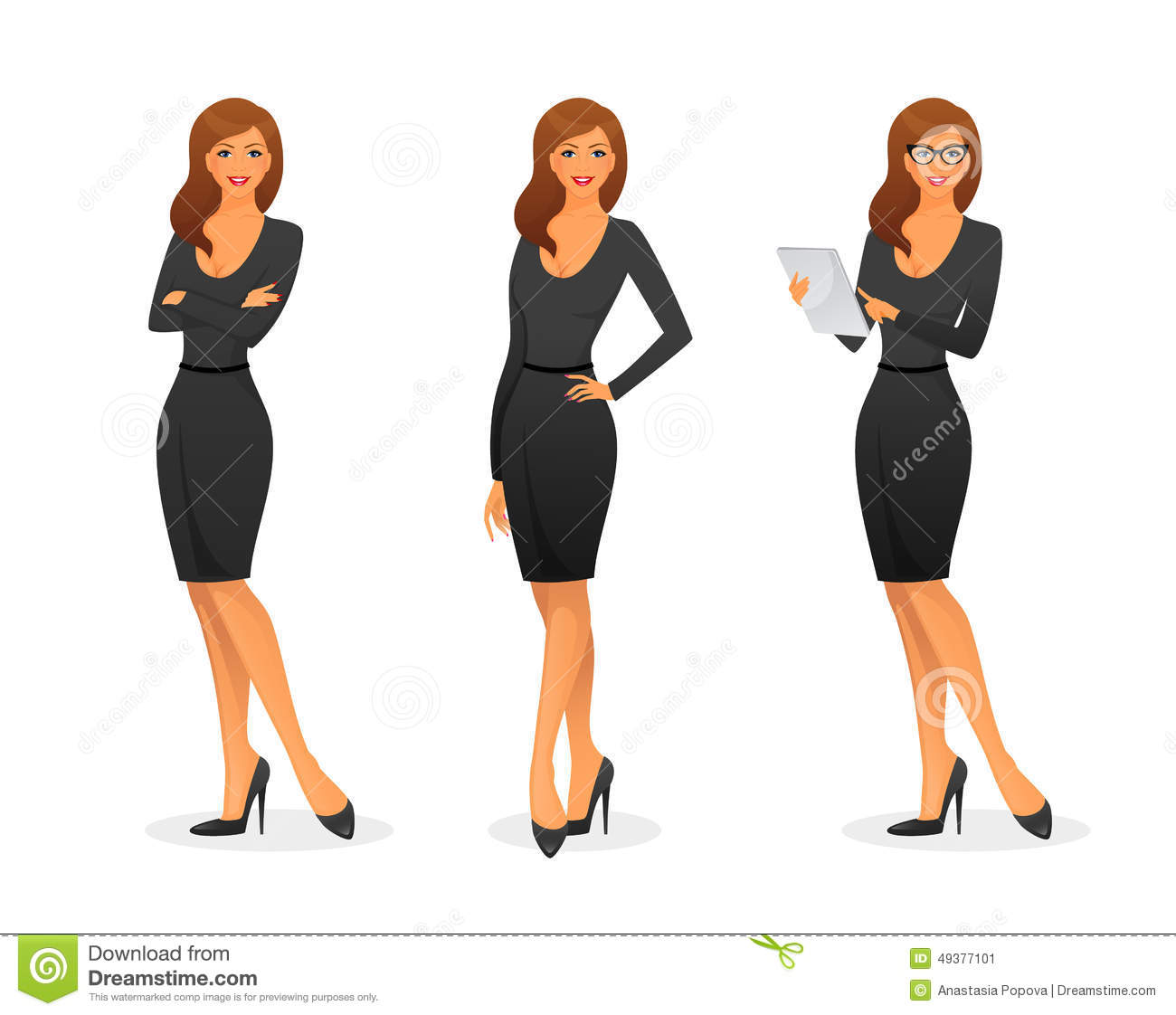 Businesswoman In Various Poses Stock Vector