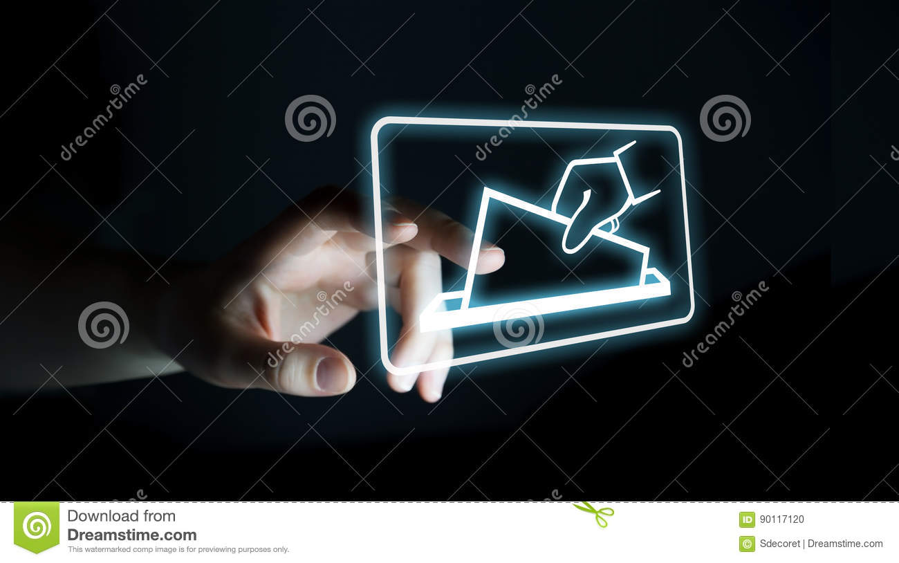 Businesswoman voting using digital interface 3D rendering