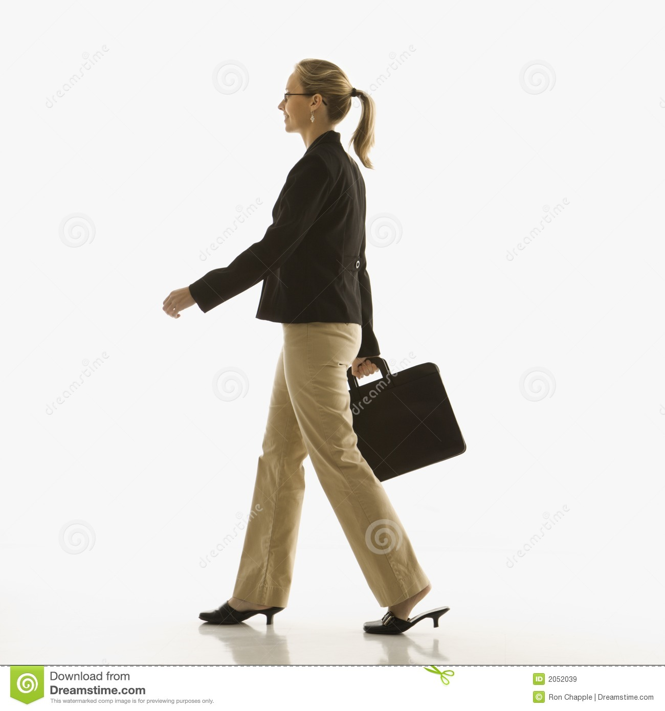 Businesswoman Walking Stock Image. Image Of Attache