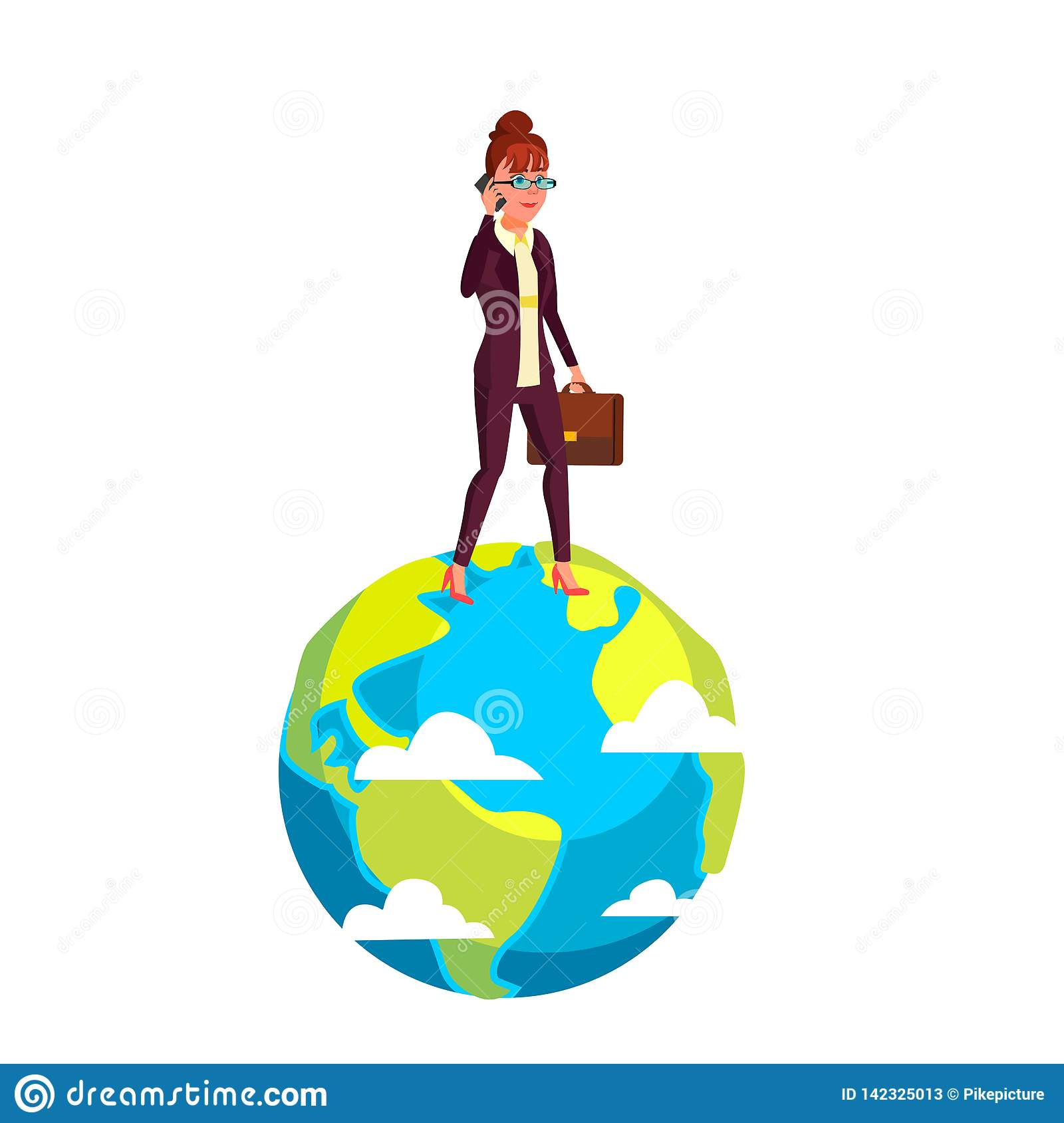 Businesswoman Walking On Planet With Briefcase In Hand Vector Flat Cartoon Illustration