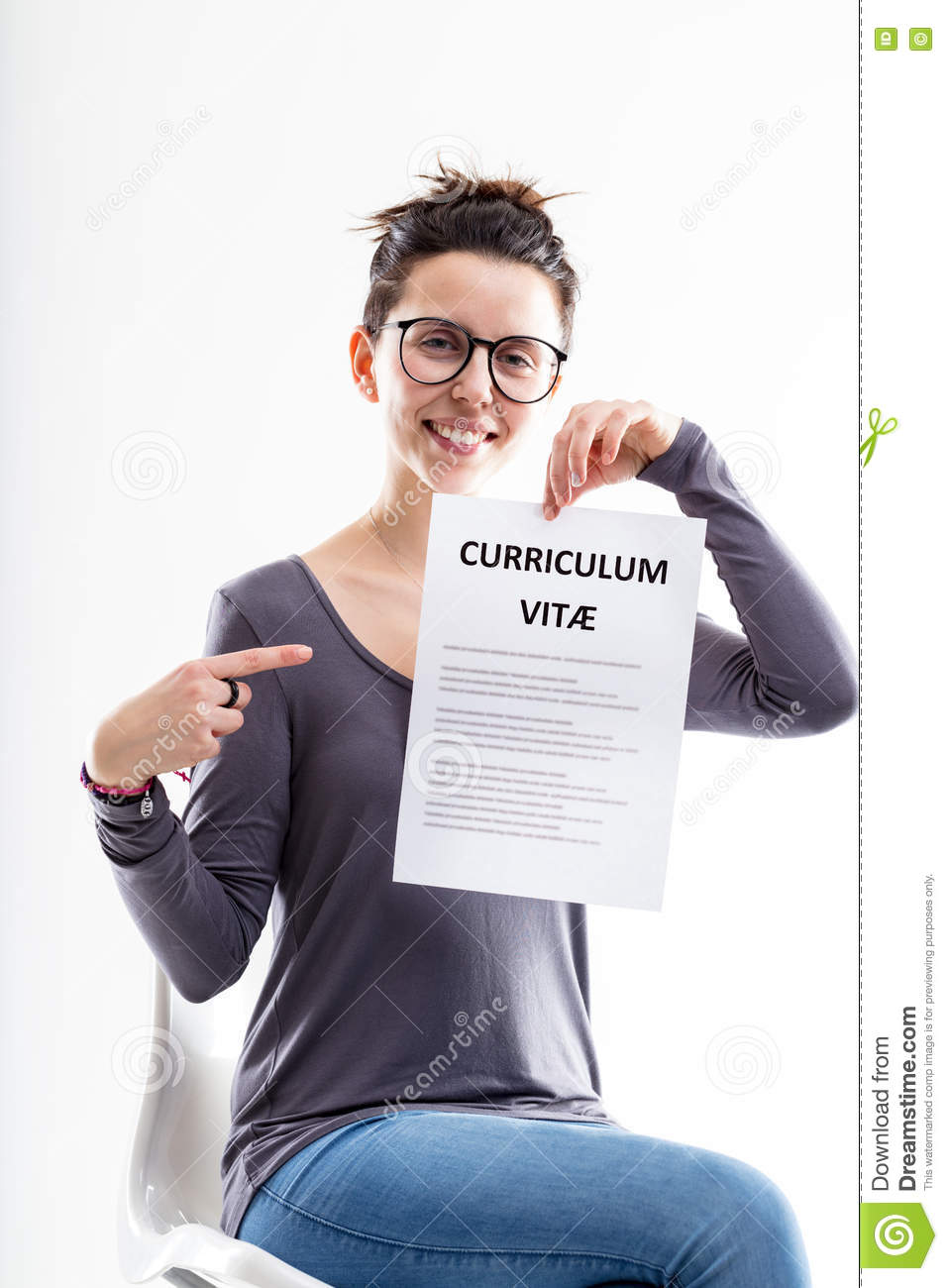 Businesswoman Wanting You To Submit Your Application Stock Photo