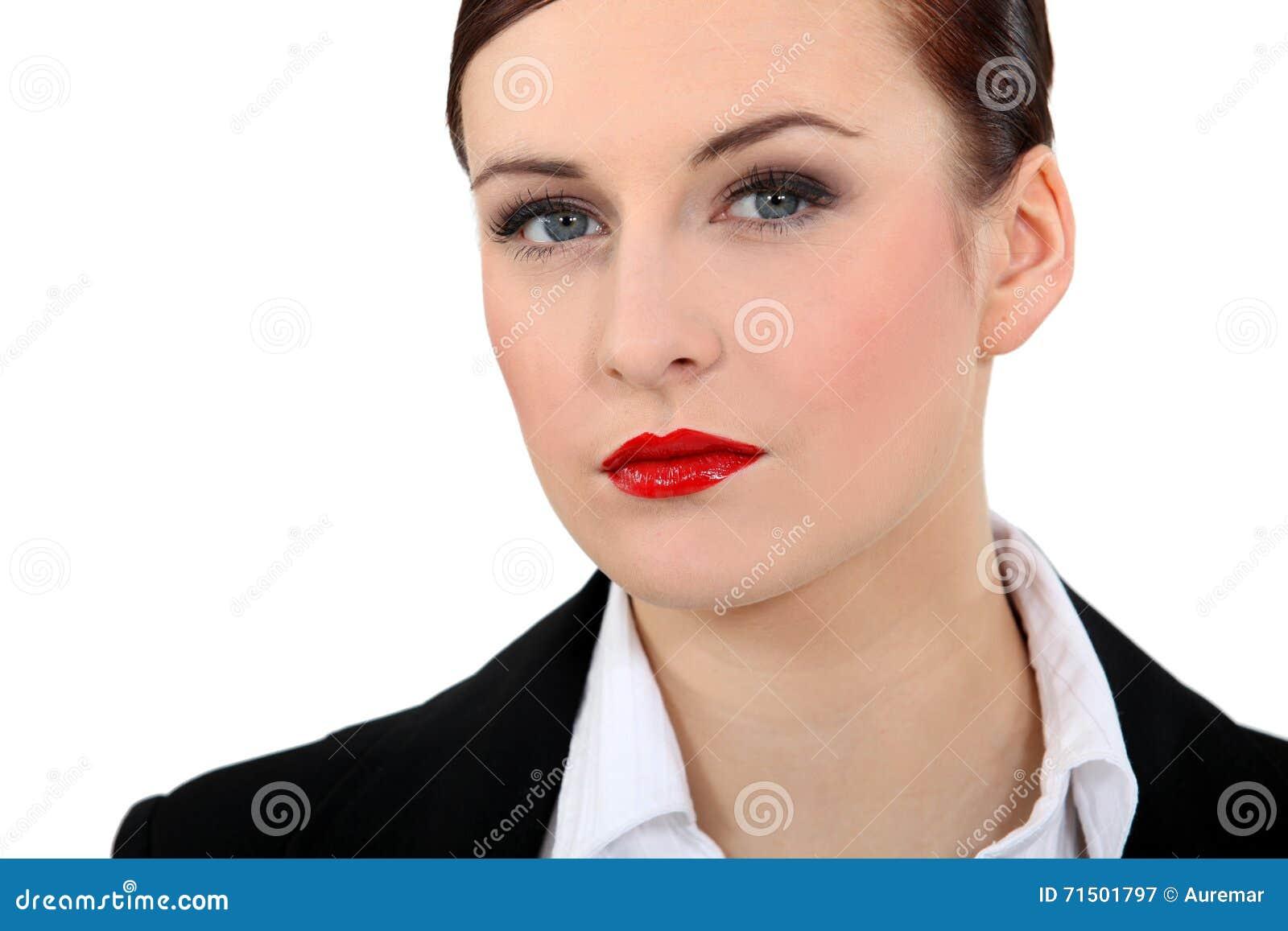 Businesswoman Wearing Red Lipstick Stock Photo - Image: 71501797