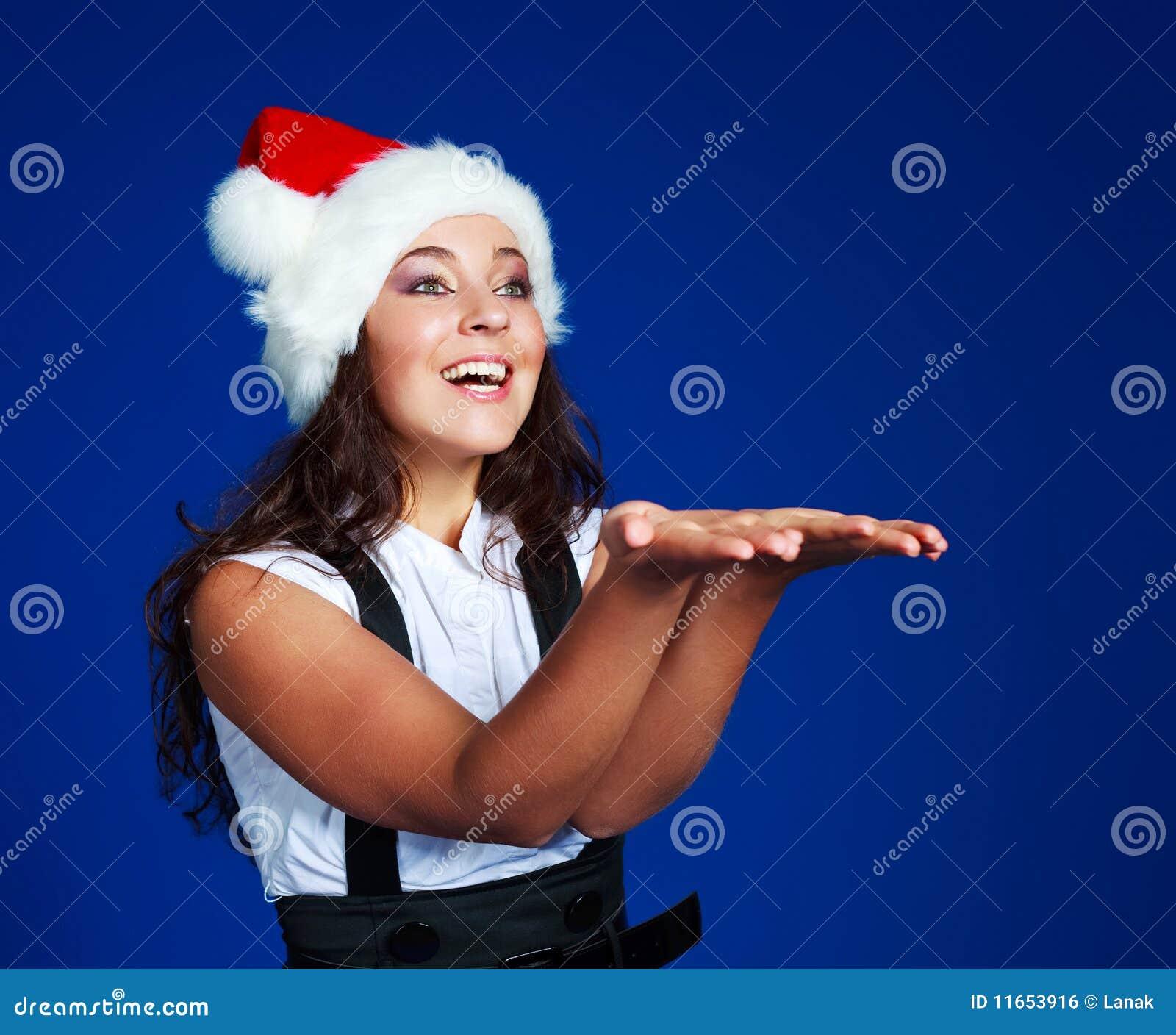 Businesswoman wearing a Santa s hat