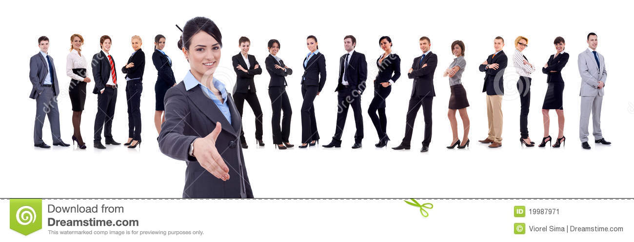Businesswoman welcoming to her business team