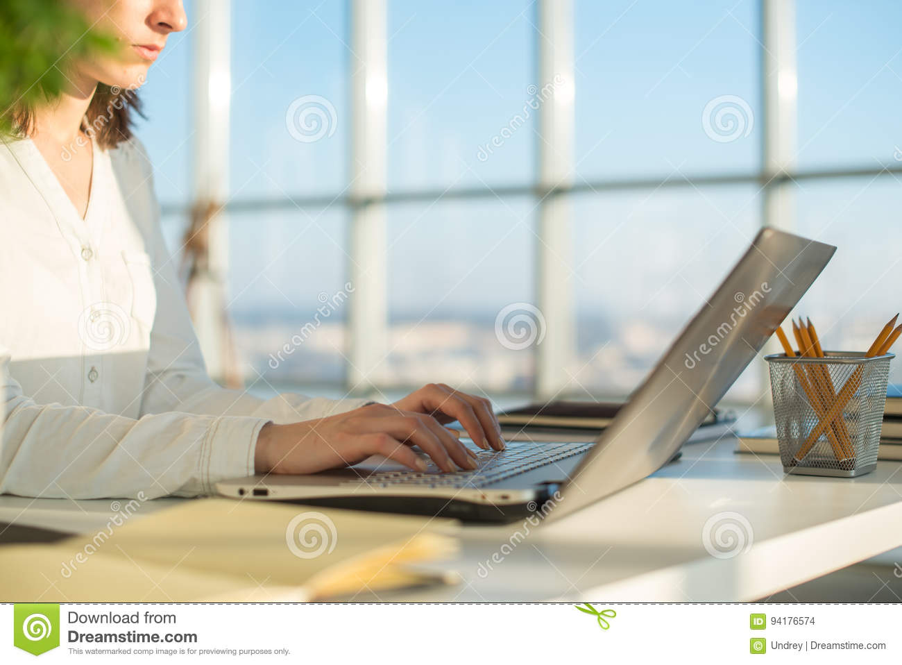 Businesswoman working at home using laptop, studying business