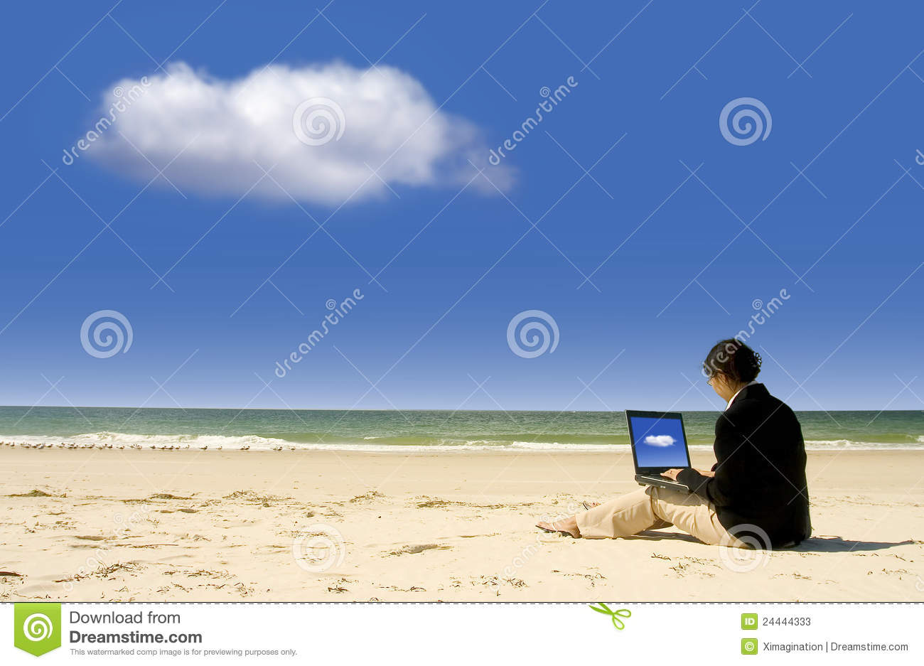 Businesswoman working with laptop at beach