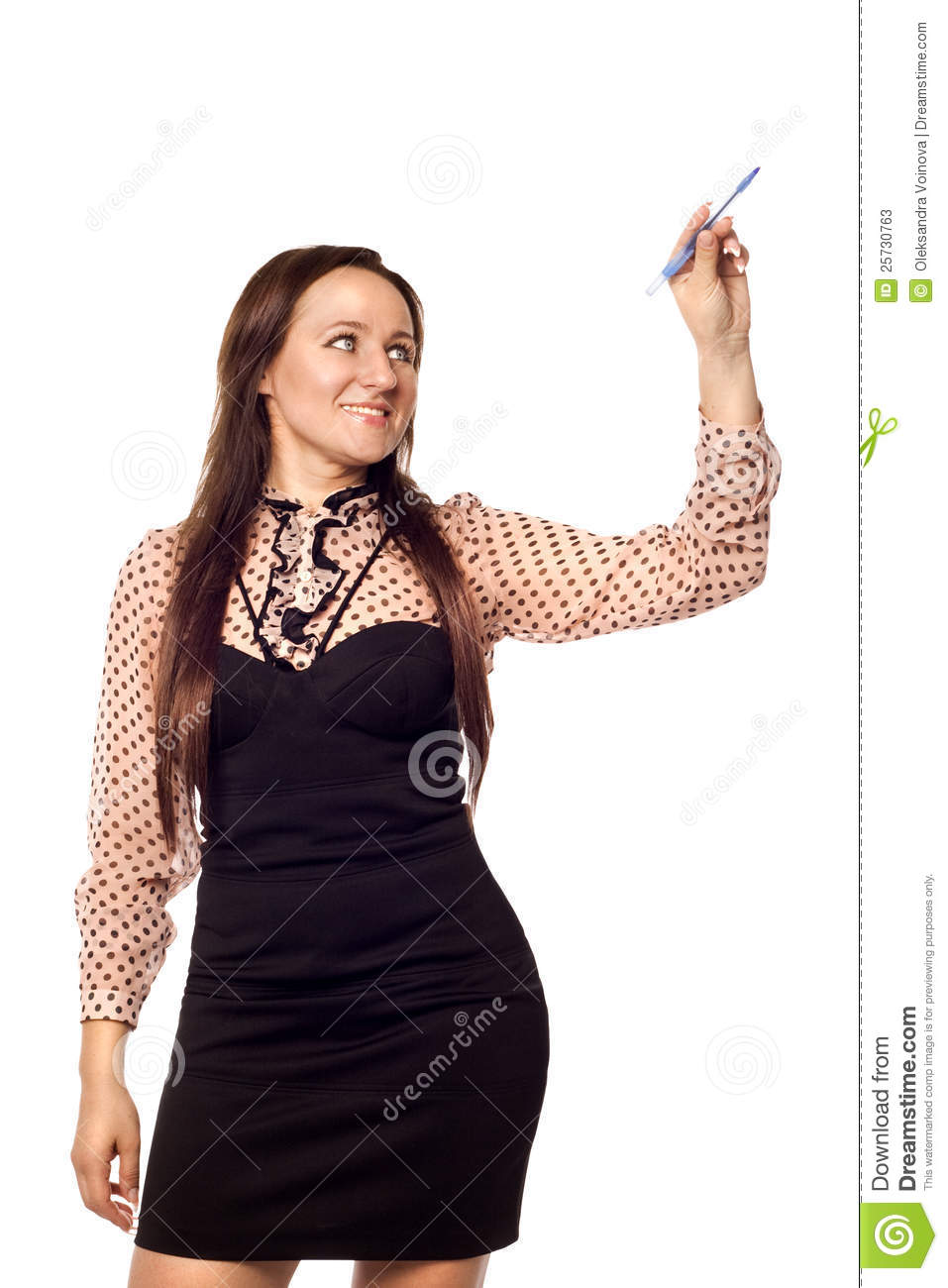 Businesswoman writing on empty copy space