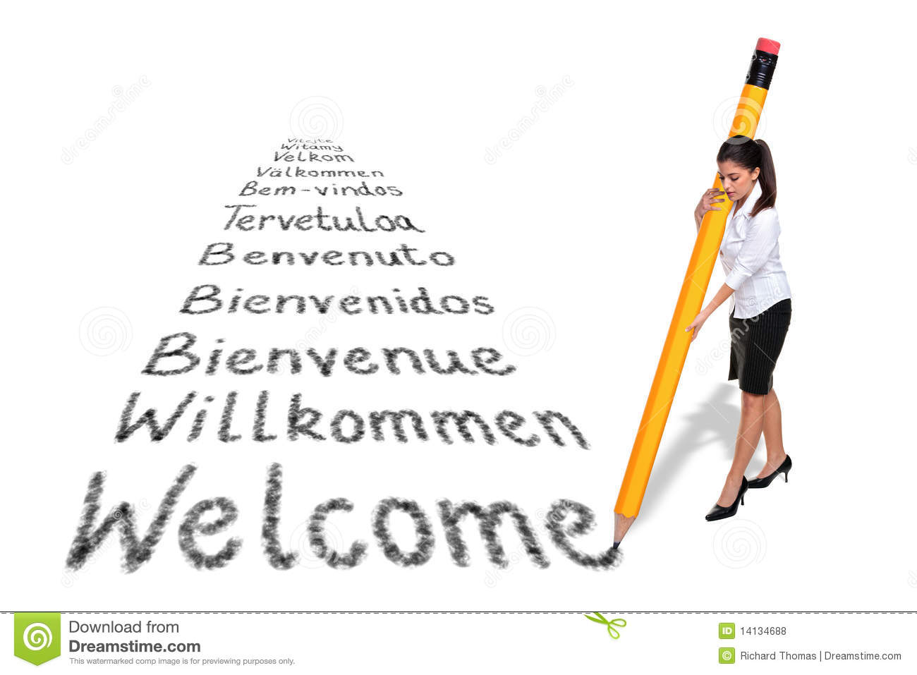 businesswoman writing welcome in various languages royalty