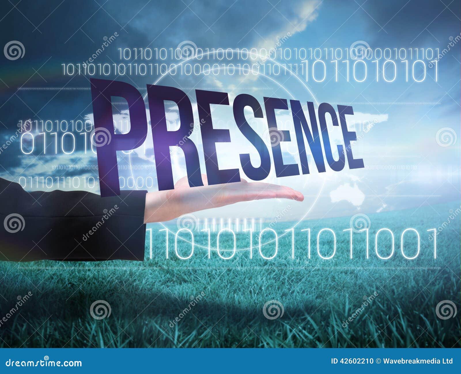 Businesswomans ręka przedstawia słowo obecność