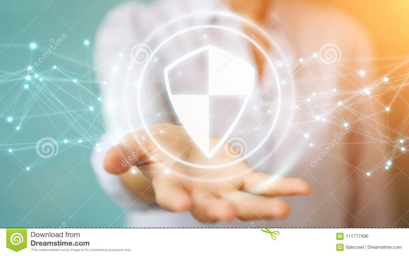 Businesswoman using shield safe protection with connections 3D r