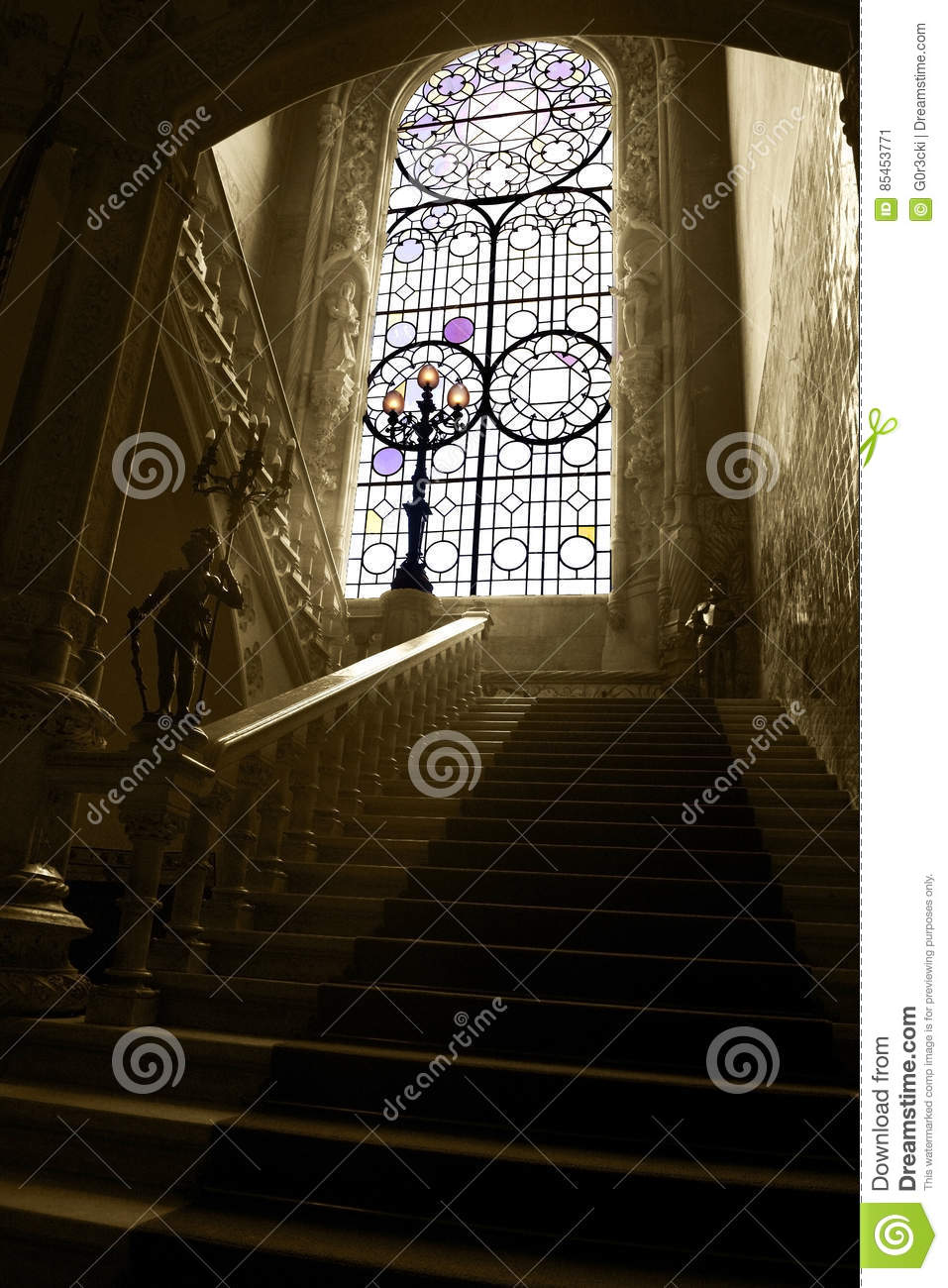 Bussaco Stained Glass Window and Palace Marble Staircase, Palace Interior, Old Luxury