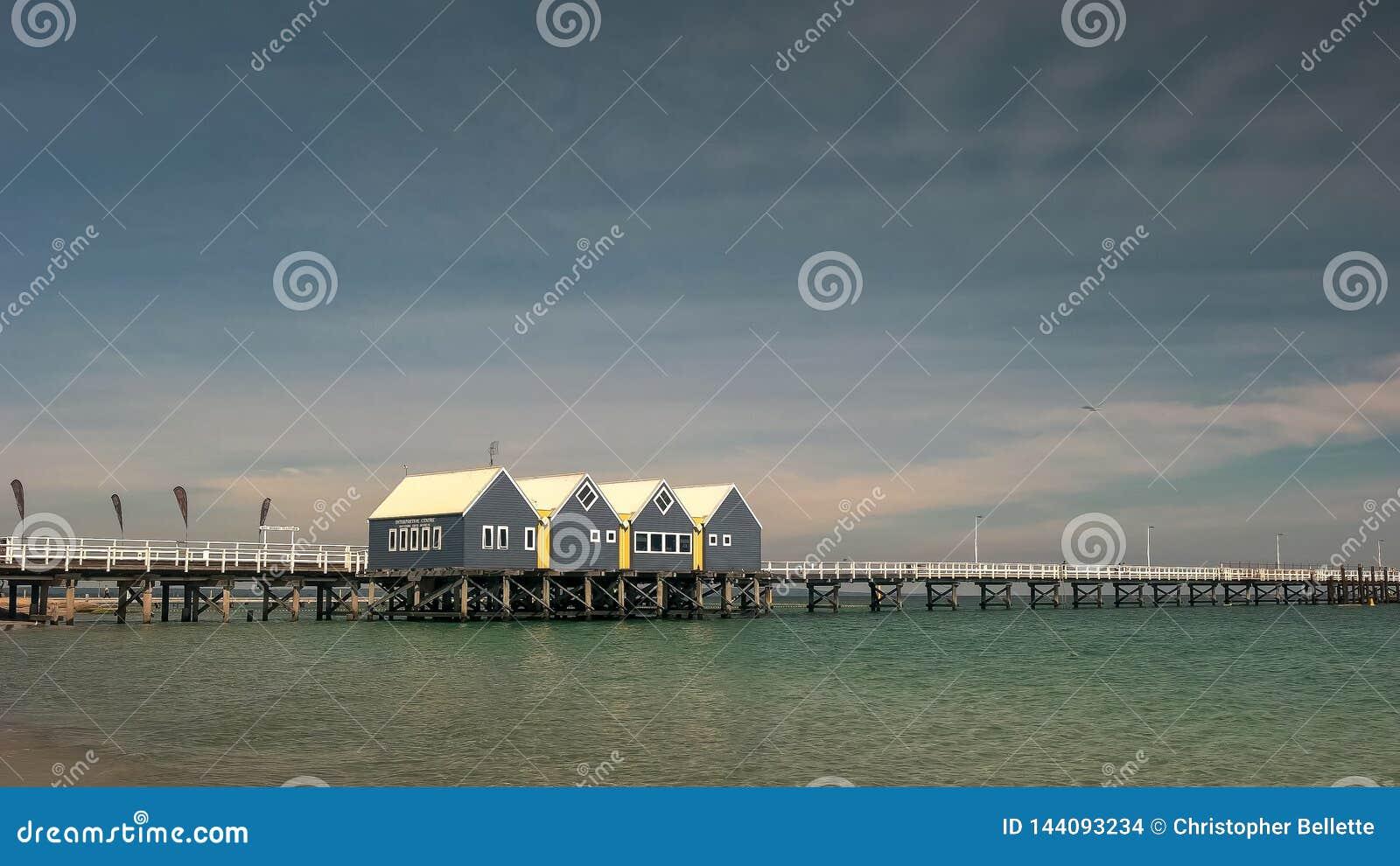 BUSSELTON, WESTELIJK AUSTRALIË, AUSTRALIË 9 NOVEMBER, 2015: de brede mening van de hoekochtend van pier de West- van Australië bu