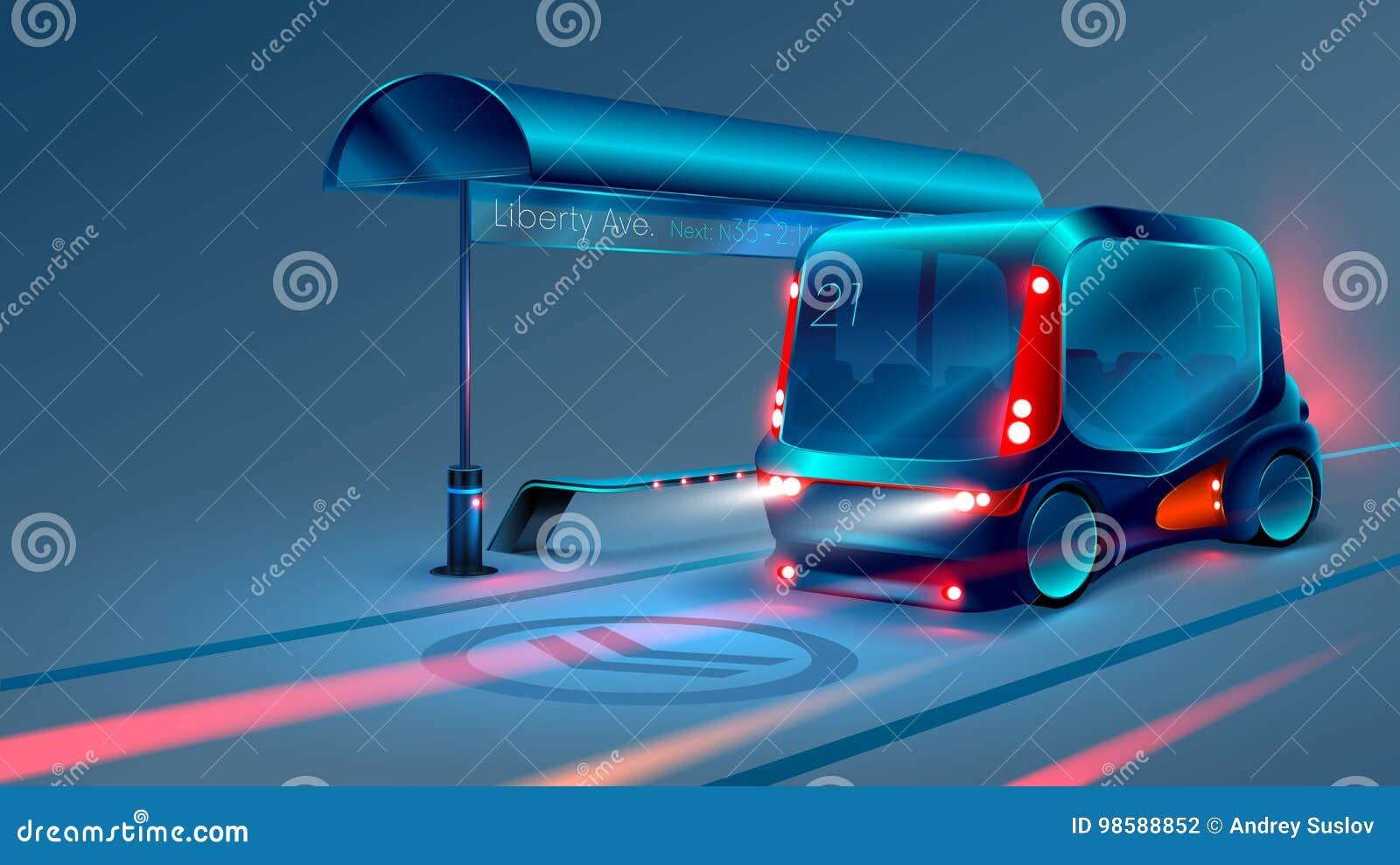 Bussen eller minibussen för autonom elkraft stoppar den smarta på stadshållplatsen vektor