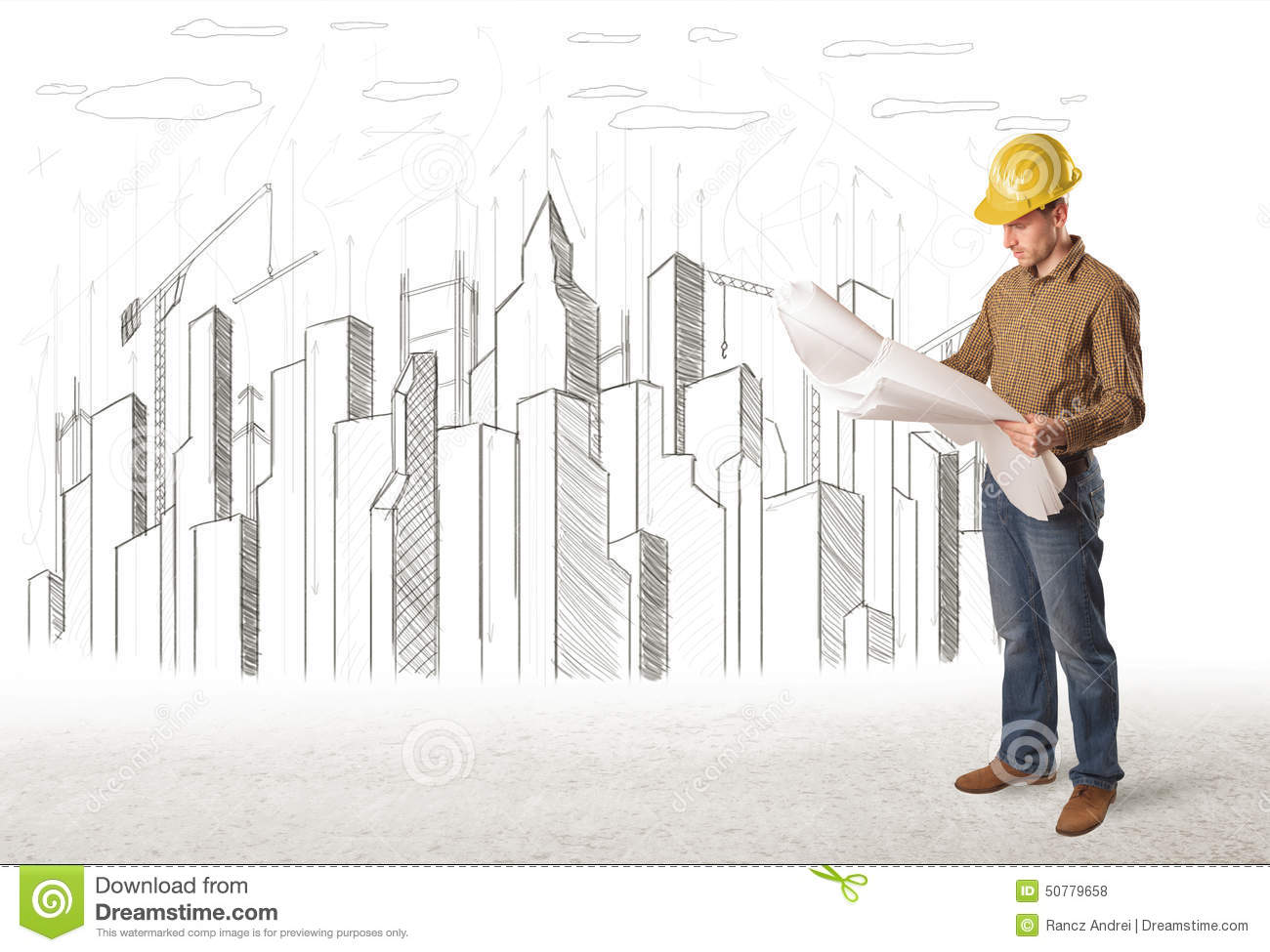 Bussines Engineer Man With Building City Drawing In