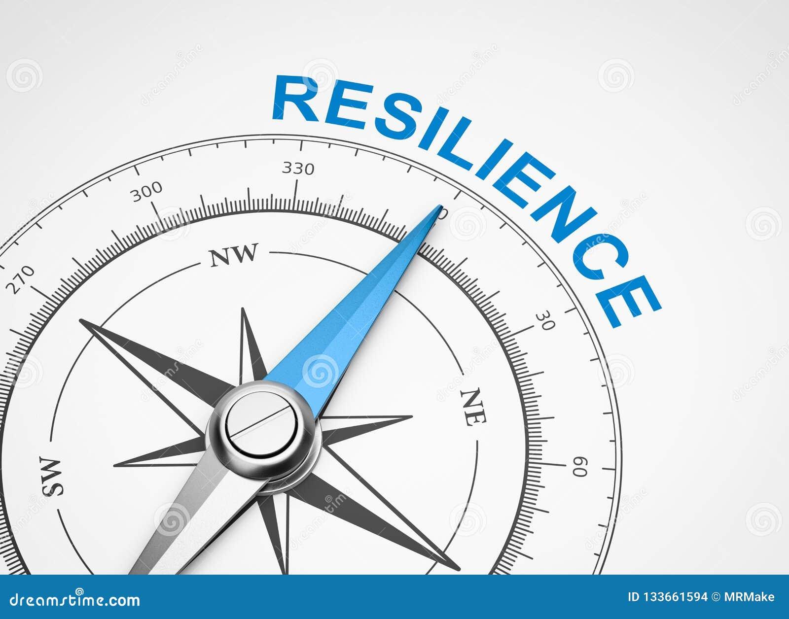 Bussola su fondo bianco, concetto di resilienza