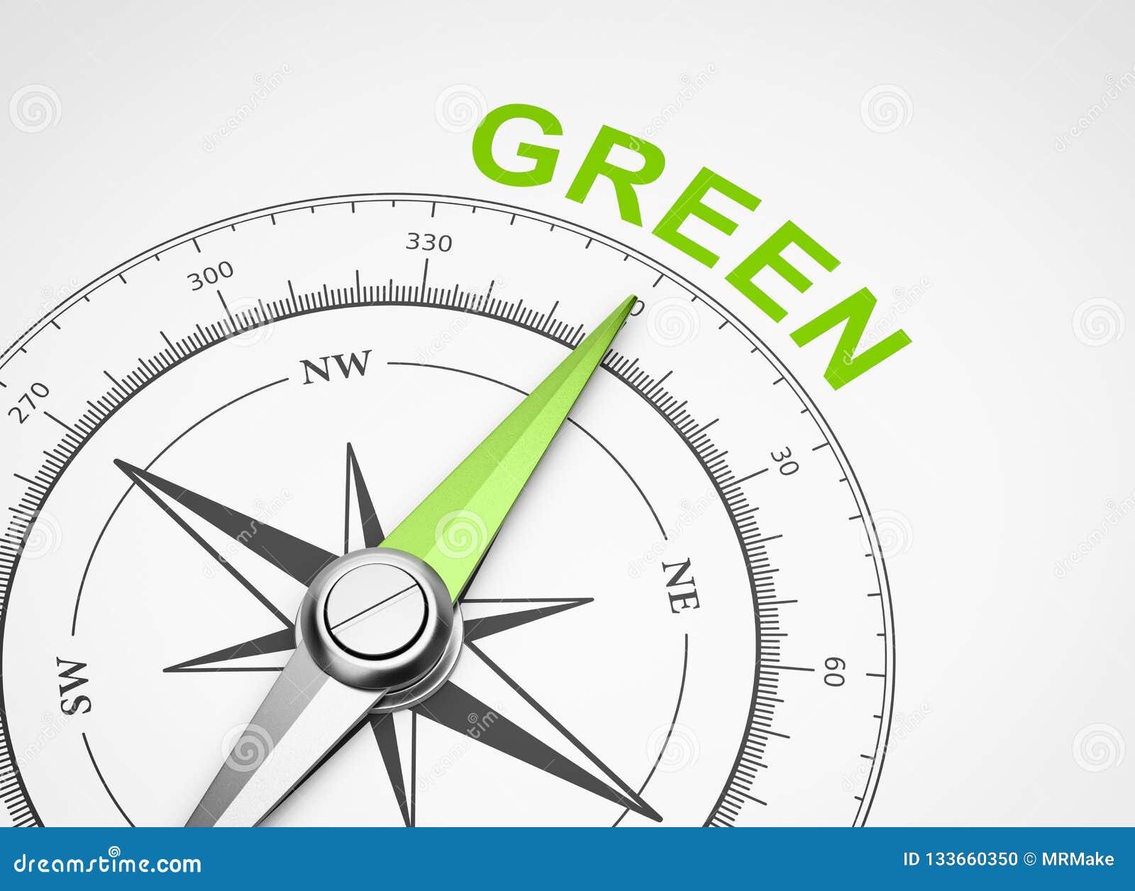 Bussola su fondo bianco, concetto verde