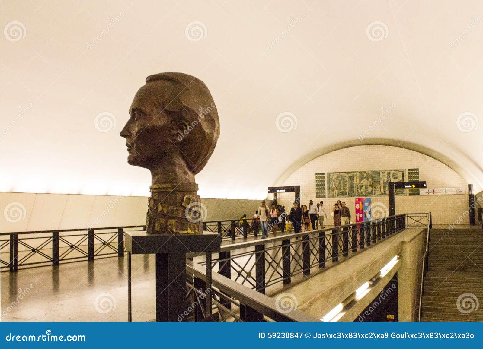 Bust of famous plastic artist Vieira da Silva in Rato subway station in Lisboa, Portugal