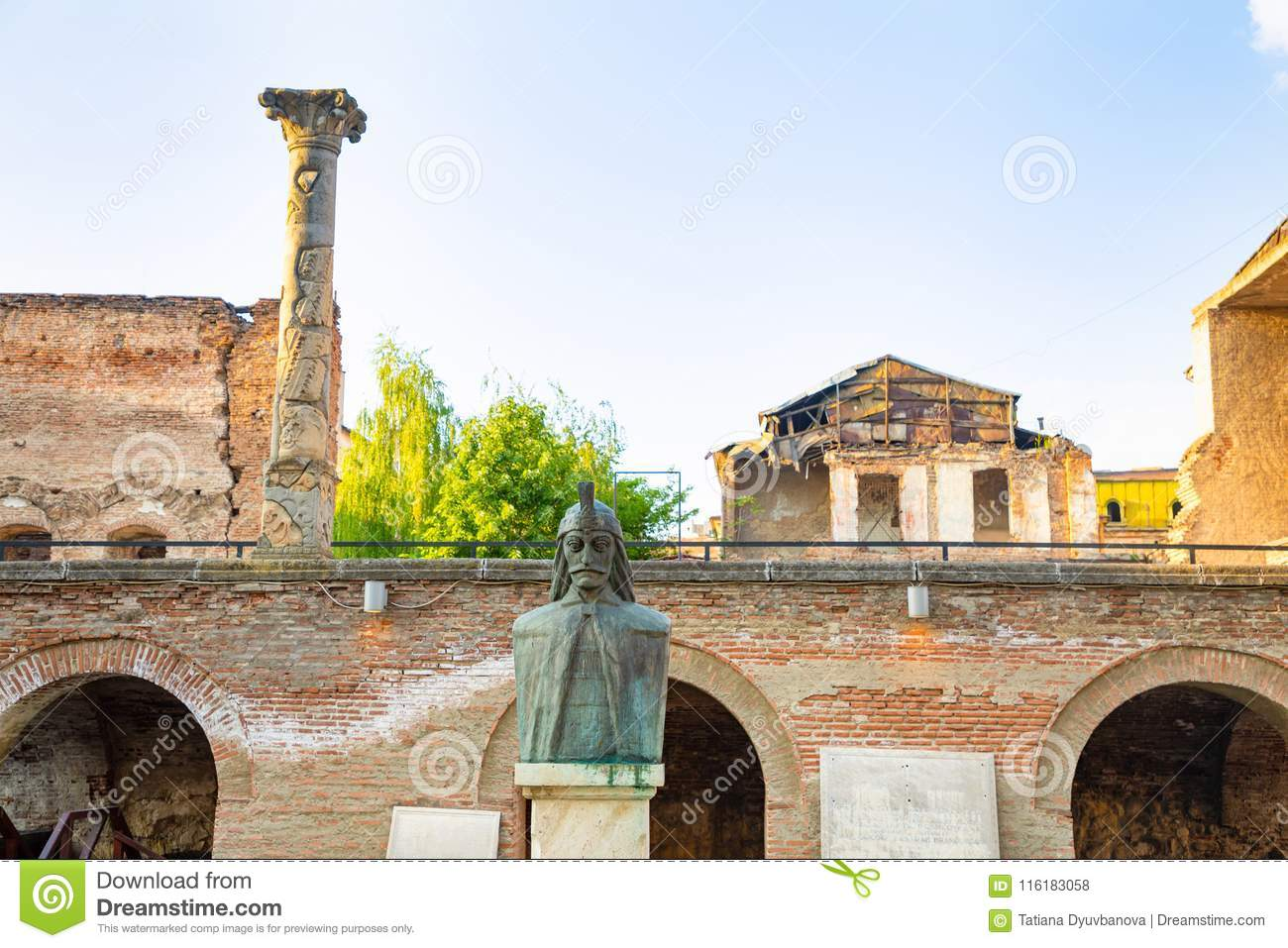 A bust of Vlad Tepes, Vlad the Impaler, the inspiration for Dracula, in the Old Princely Court, Curtea Veche, in