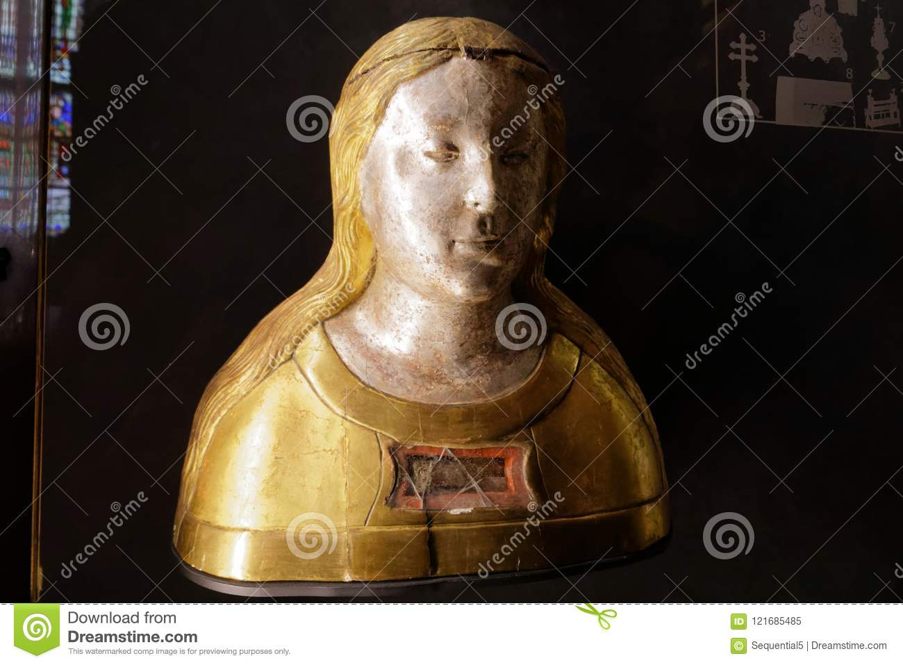 A bust of a woman containing the bone of a saint