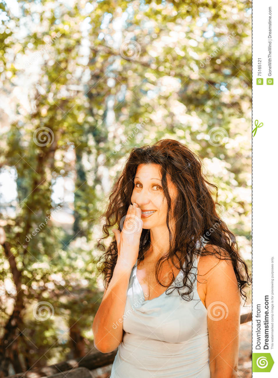 Busty Classy Mature Woman Covering Her Mouth Stock Image - Image Of Busty, Green 75165121-8753
