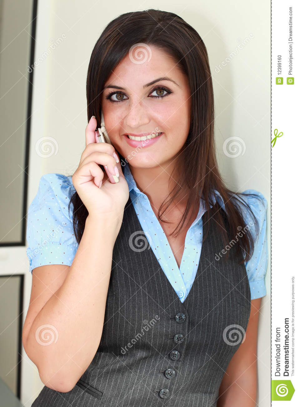 Busty Lady Talking On Mobile Cellphone