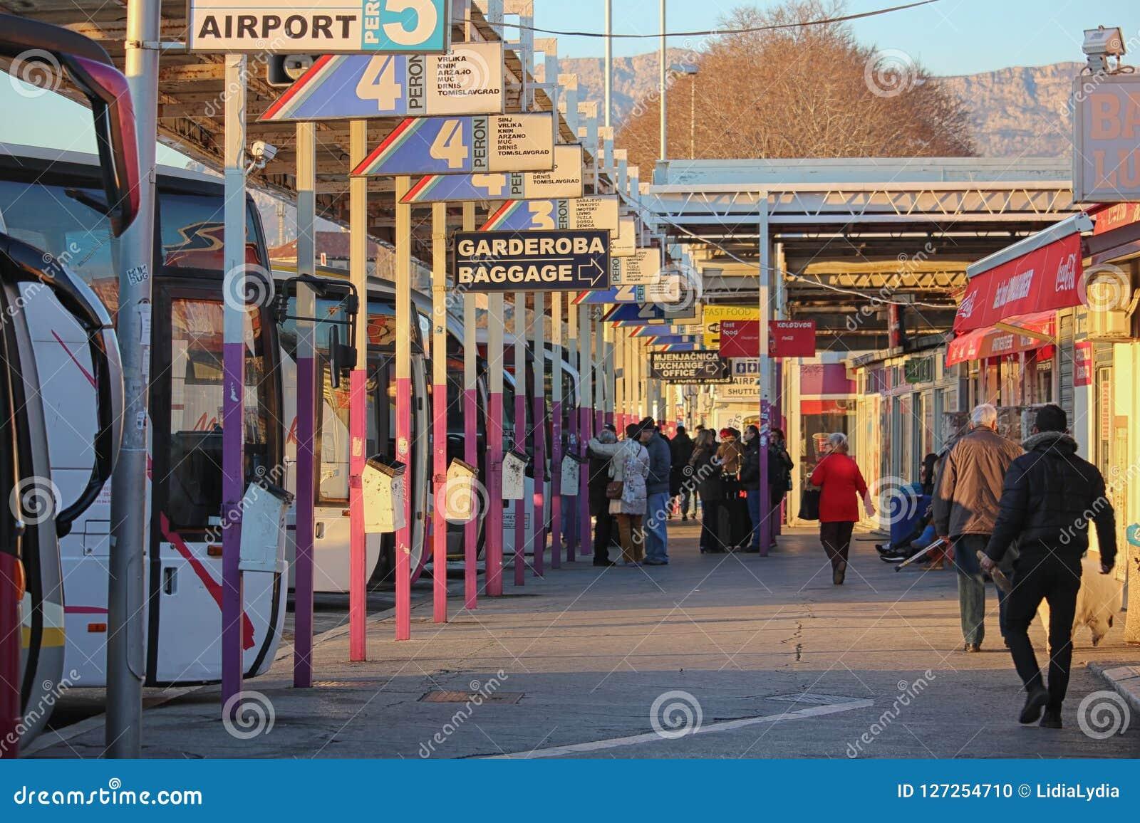 Busy bus terminal in Split, Croatia