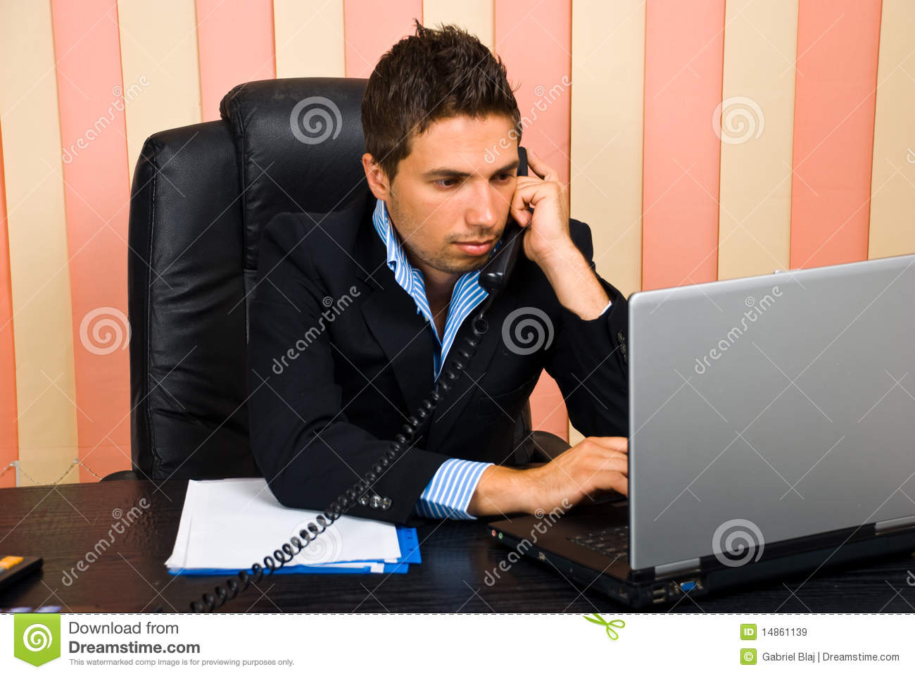 Busy business man in office