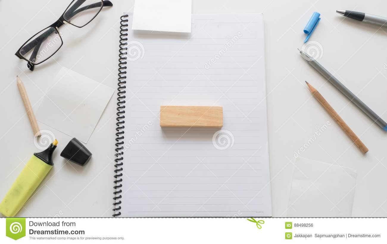 busy business Office desk table and wooden block work word written on wood block on white background