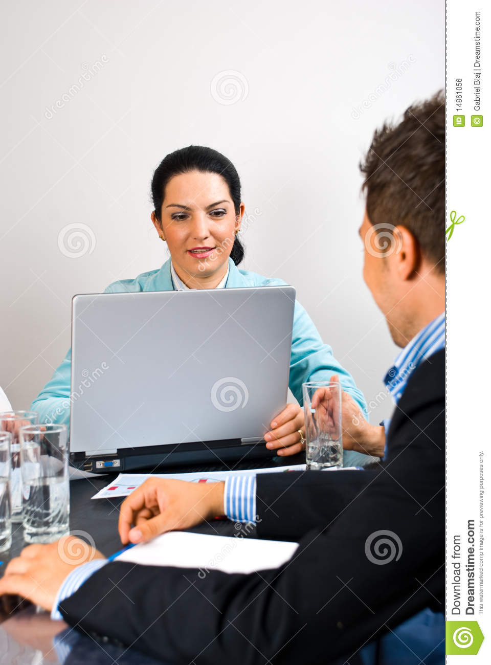 Busy business woman in the middle of meeting