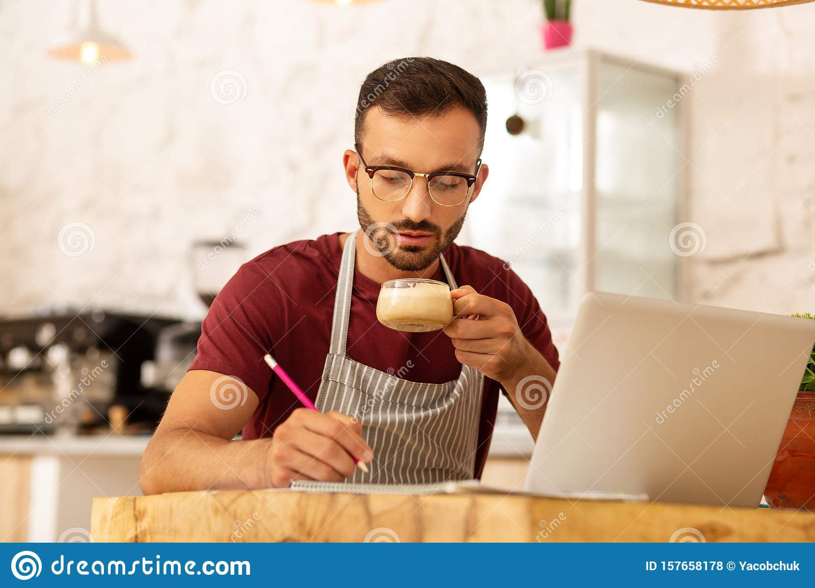 Busy Businessman Drinking Cappuccino And Working Stock ...