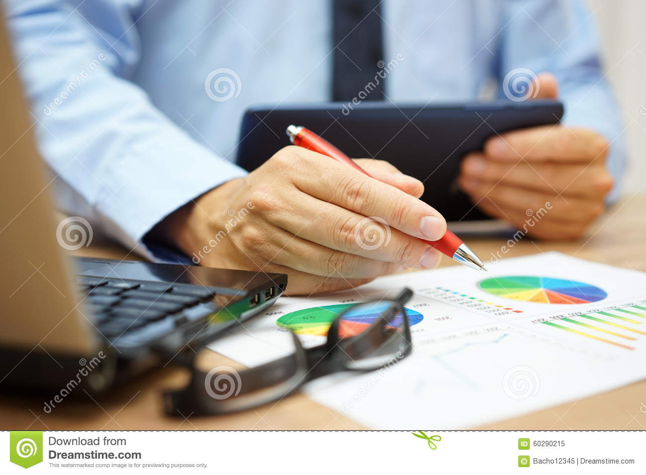 Busy Businessman Overwhelmed With Informations On Tablet ...