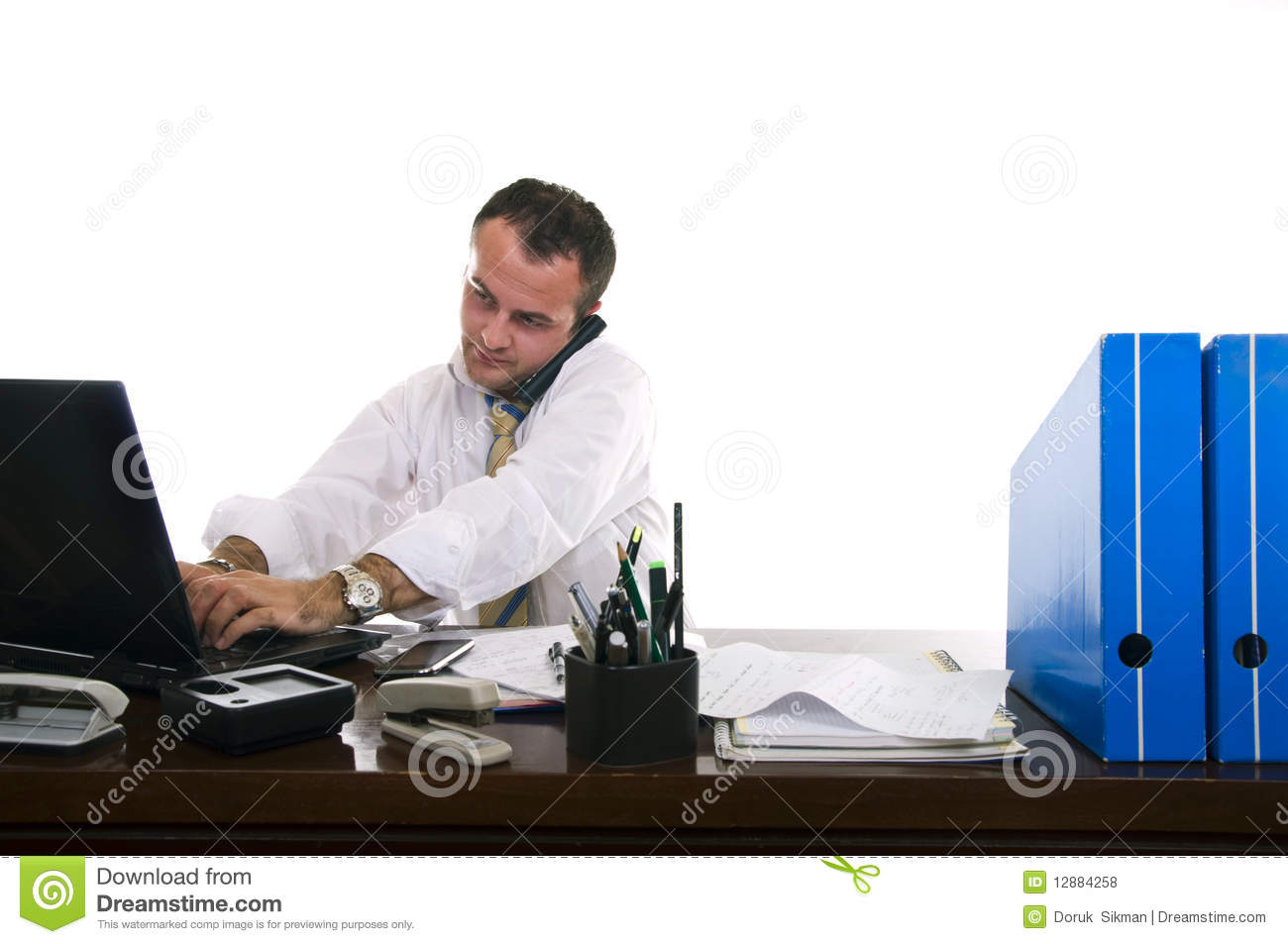 Busy Businessman Working Royalty Free Stock Photos - Image ...