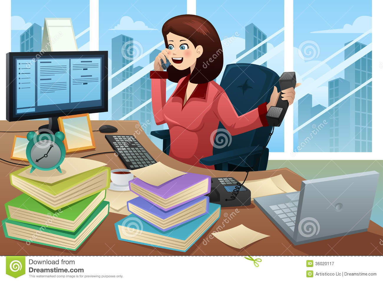 Busy Businesswoman On The Phone Royalty Free Stock