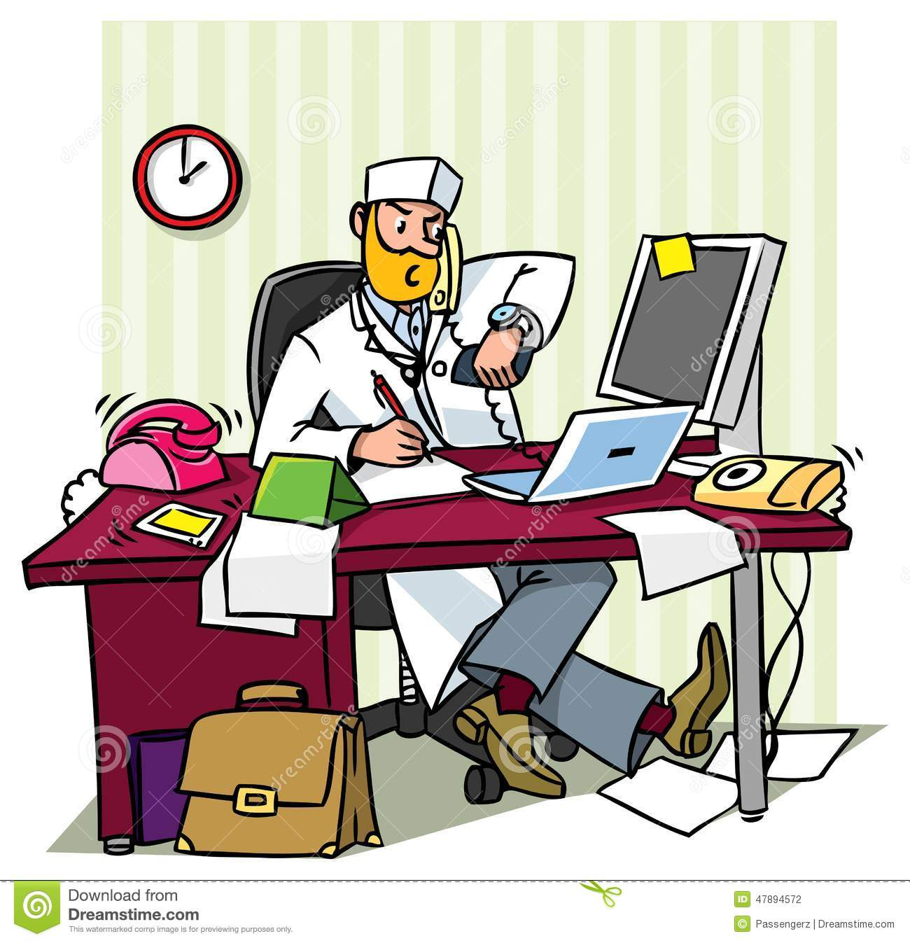 Busy Chief Doctor In A Office Stock Illustration - Image ...