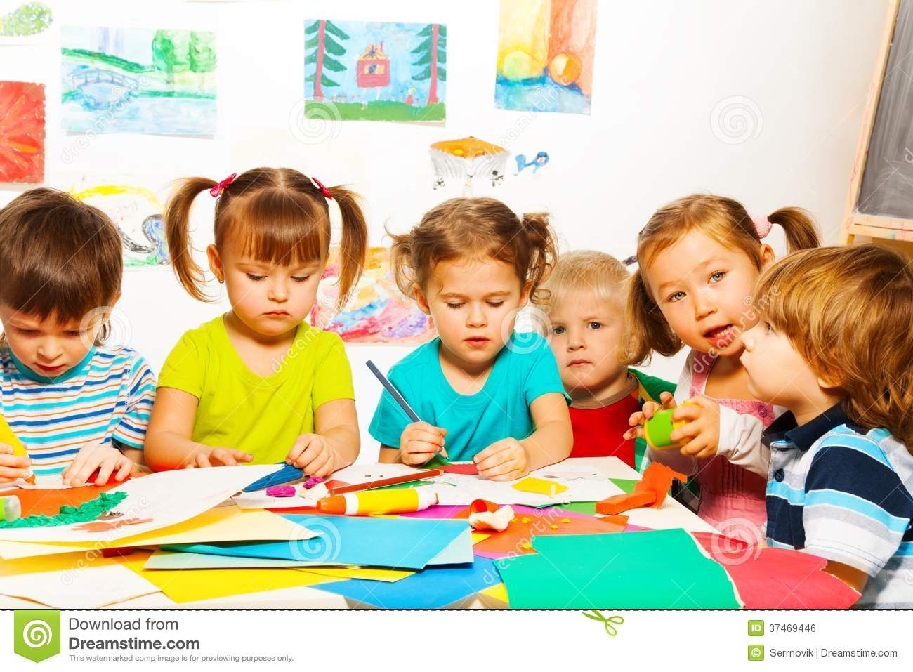 Busy Creative Kids Royalty Free Stock Image Image 37469446