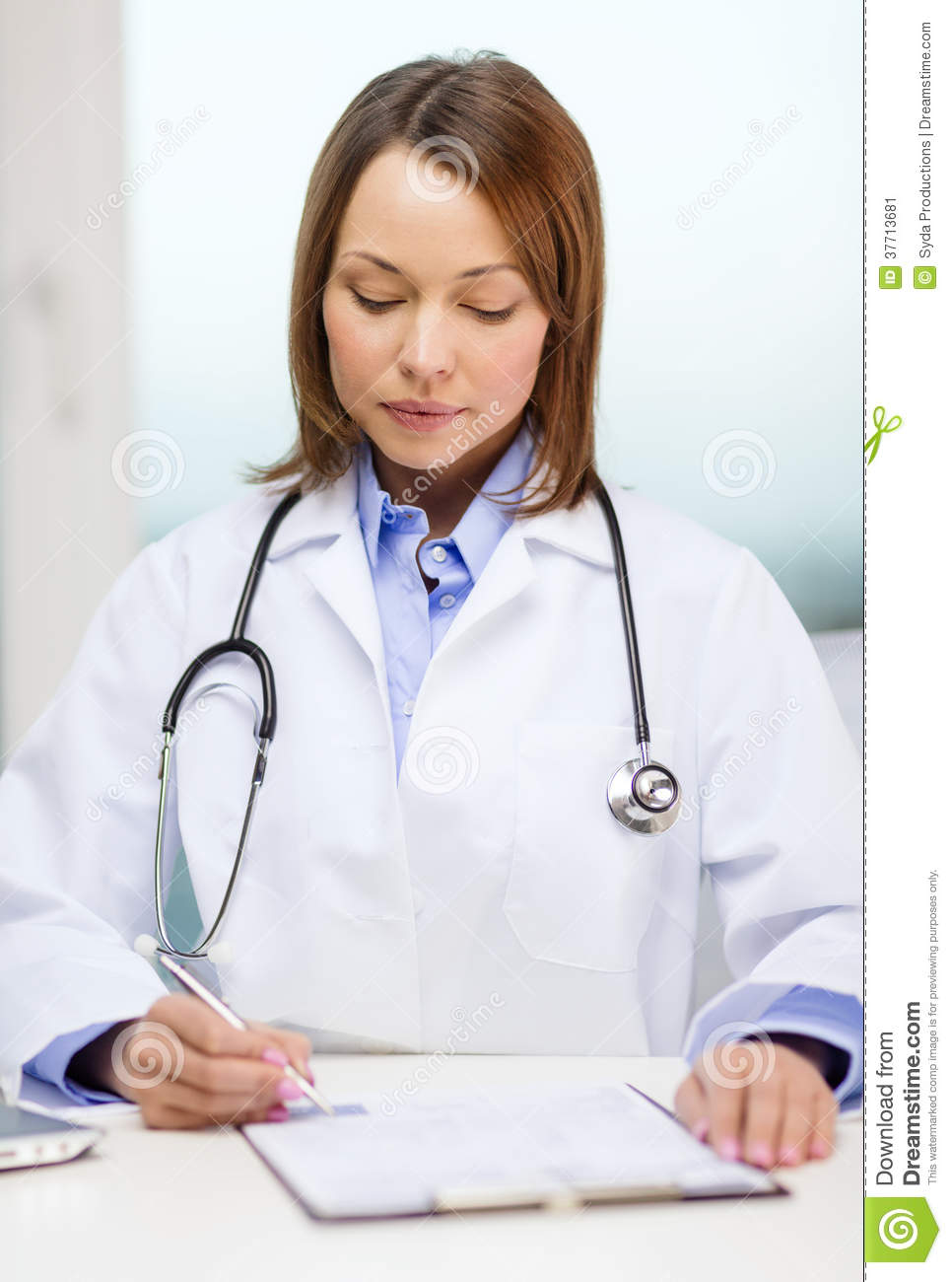 Busy Doctor With Laptop Computer And Clipboard Stock Image ...