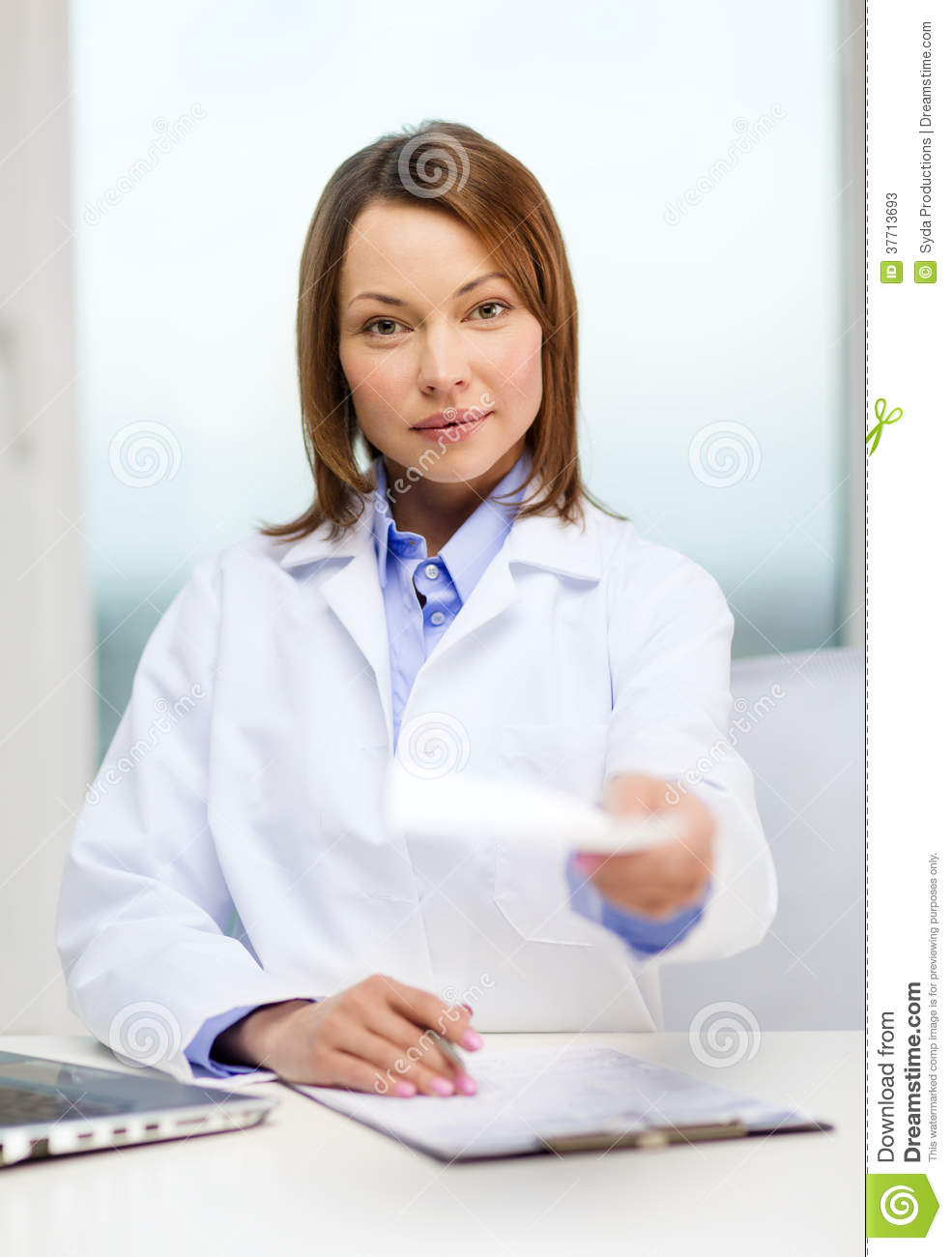 Busy Doctor With Laptop Computer And Clipboard Stock ...