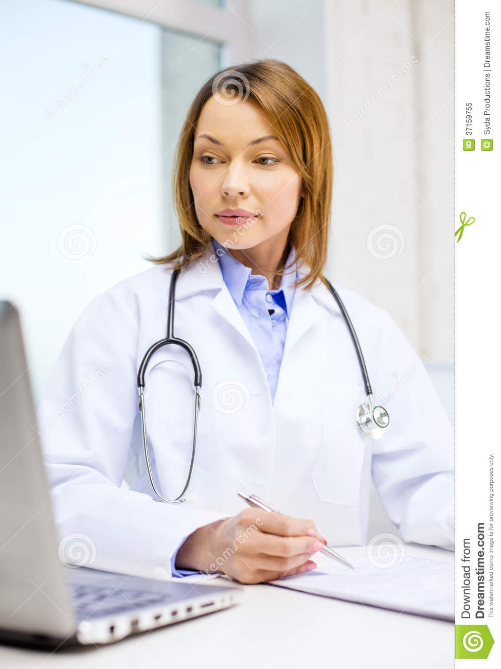 Busy Doctor With Laptop Computer And Clipboard Royalty ...