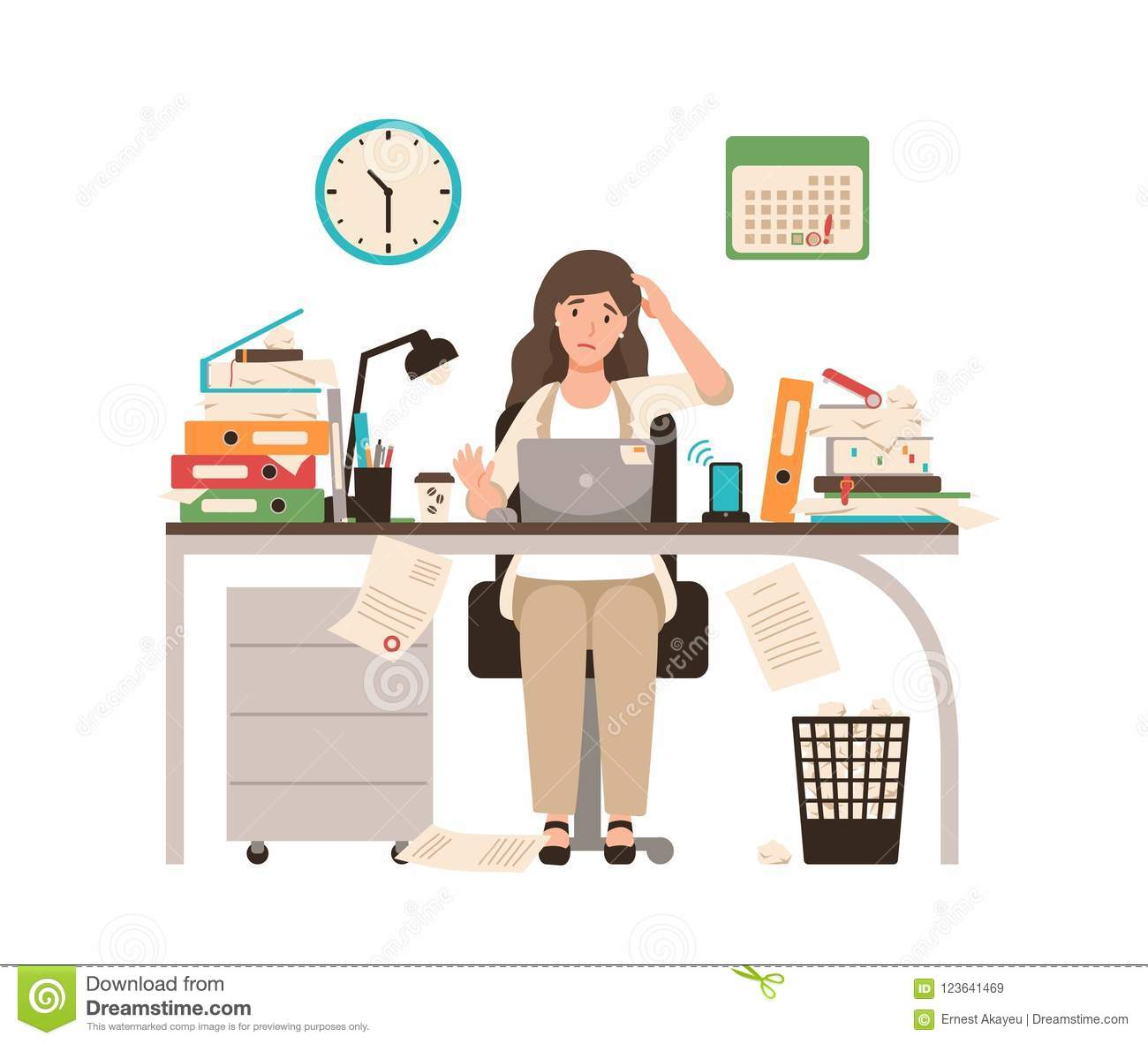 Busy female office worker or clerk sitting at desk completely covered with documents. Woman working at laptop overtime