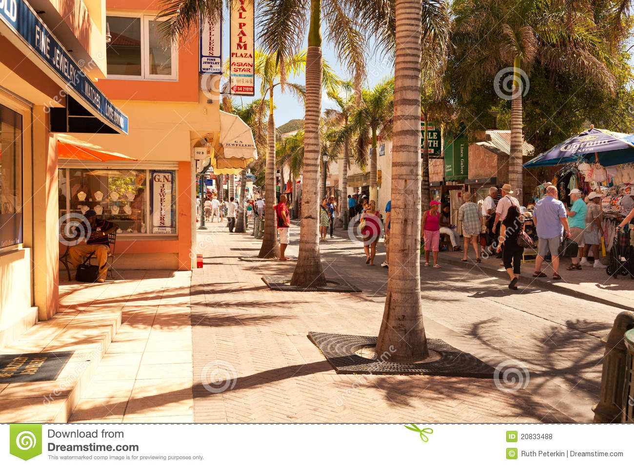 Busy Front Street In St Maarten Editorial Stock Photo Image 20833488