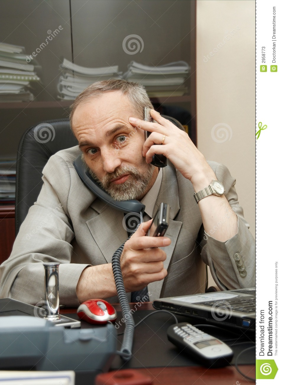 Busy, Hard Working Businessman Stock Photos - Image: 2958773