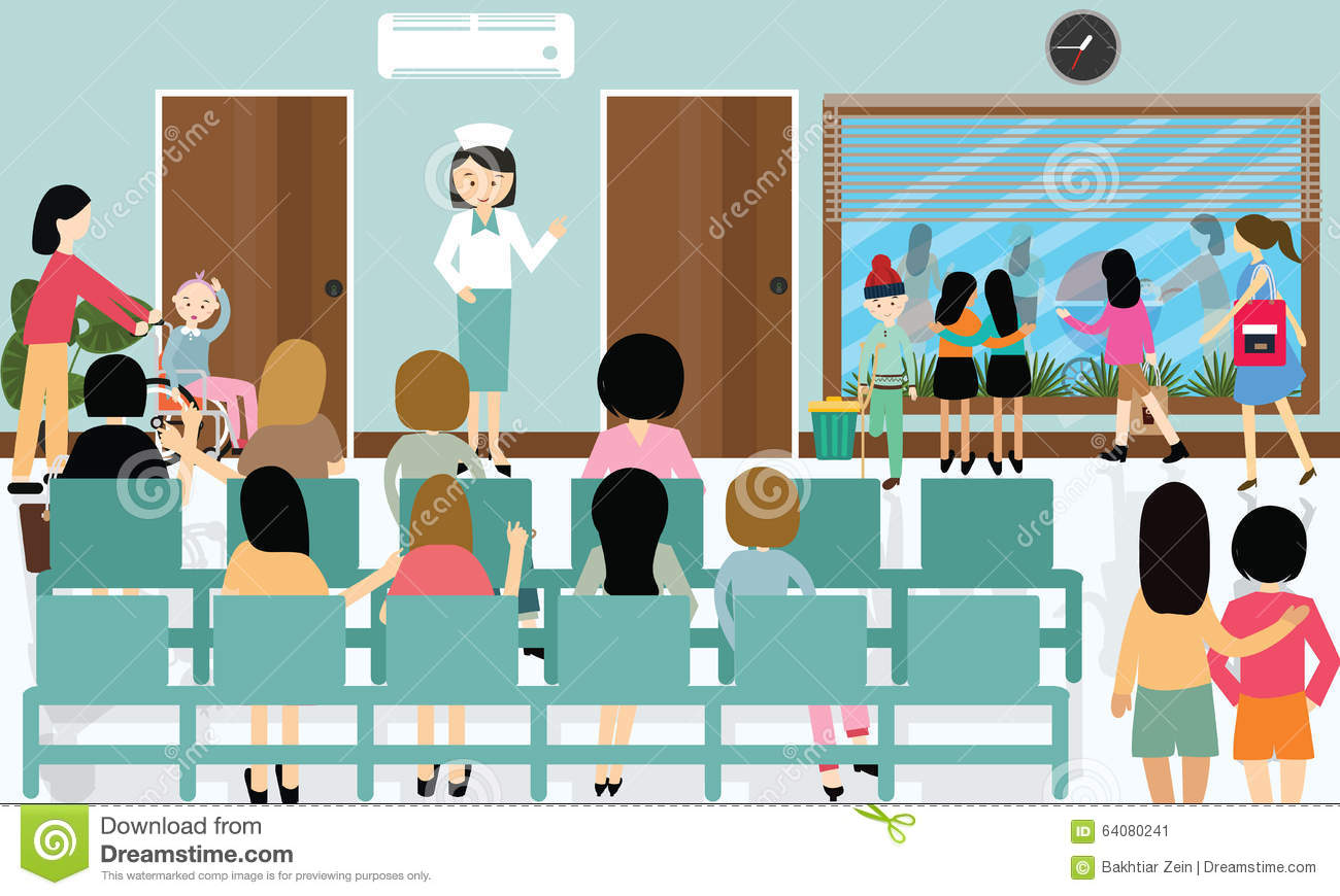 Emergency Room Waiting Cartoon Busy Hospital C...