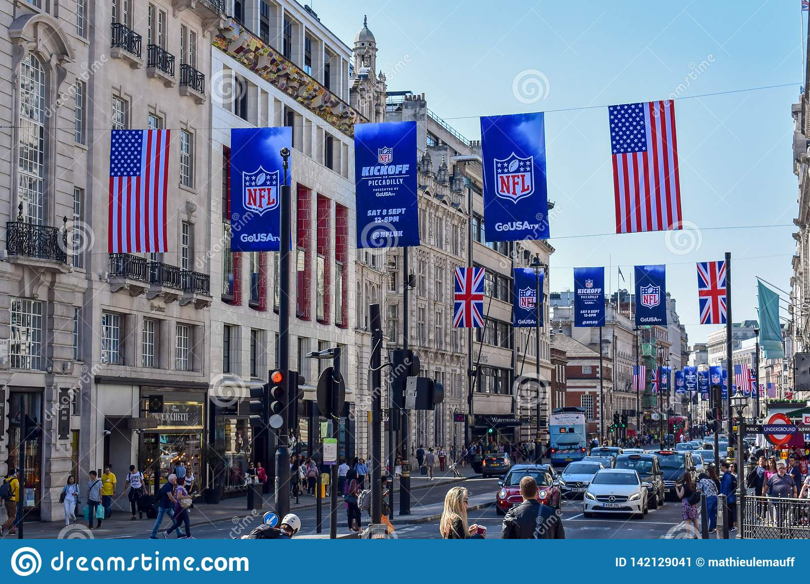 Busy London Street with American Football Banners and Flags