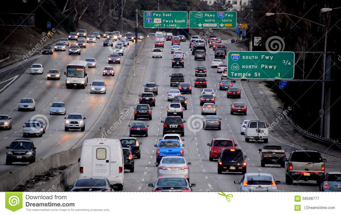 Busy Los Angeles Freeway Traffic Daytime Stock Video - Video