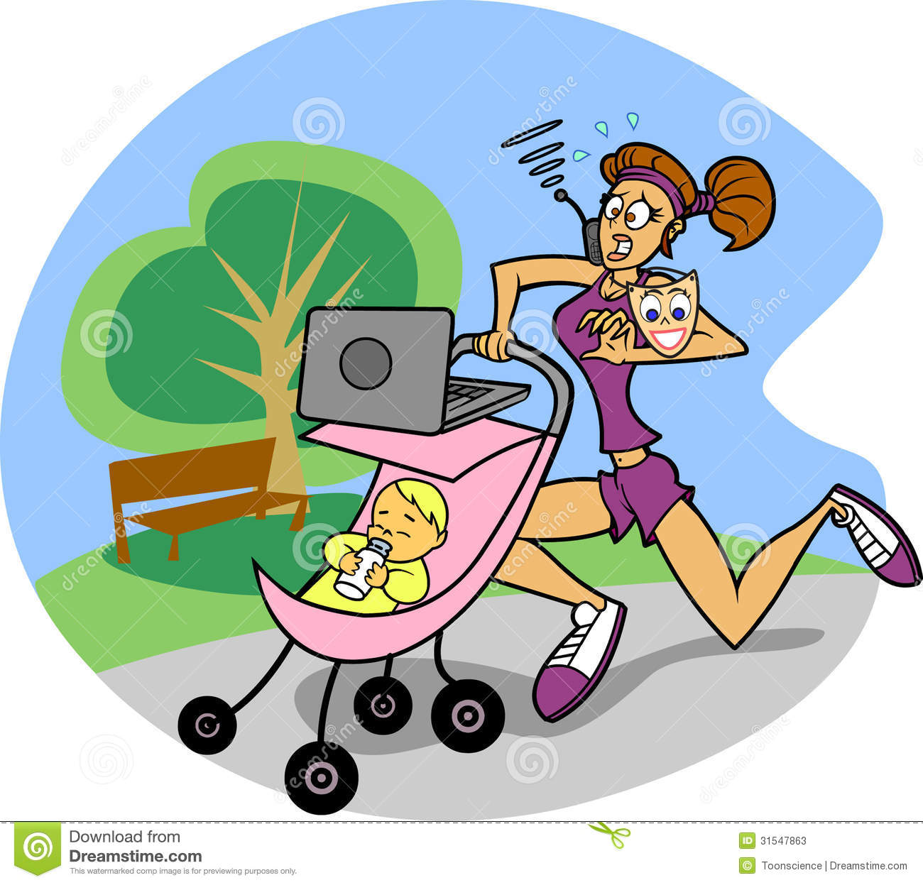 busy mom on the run stock photos   image 31547863