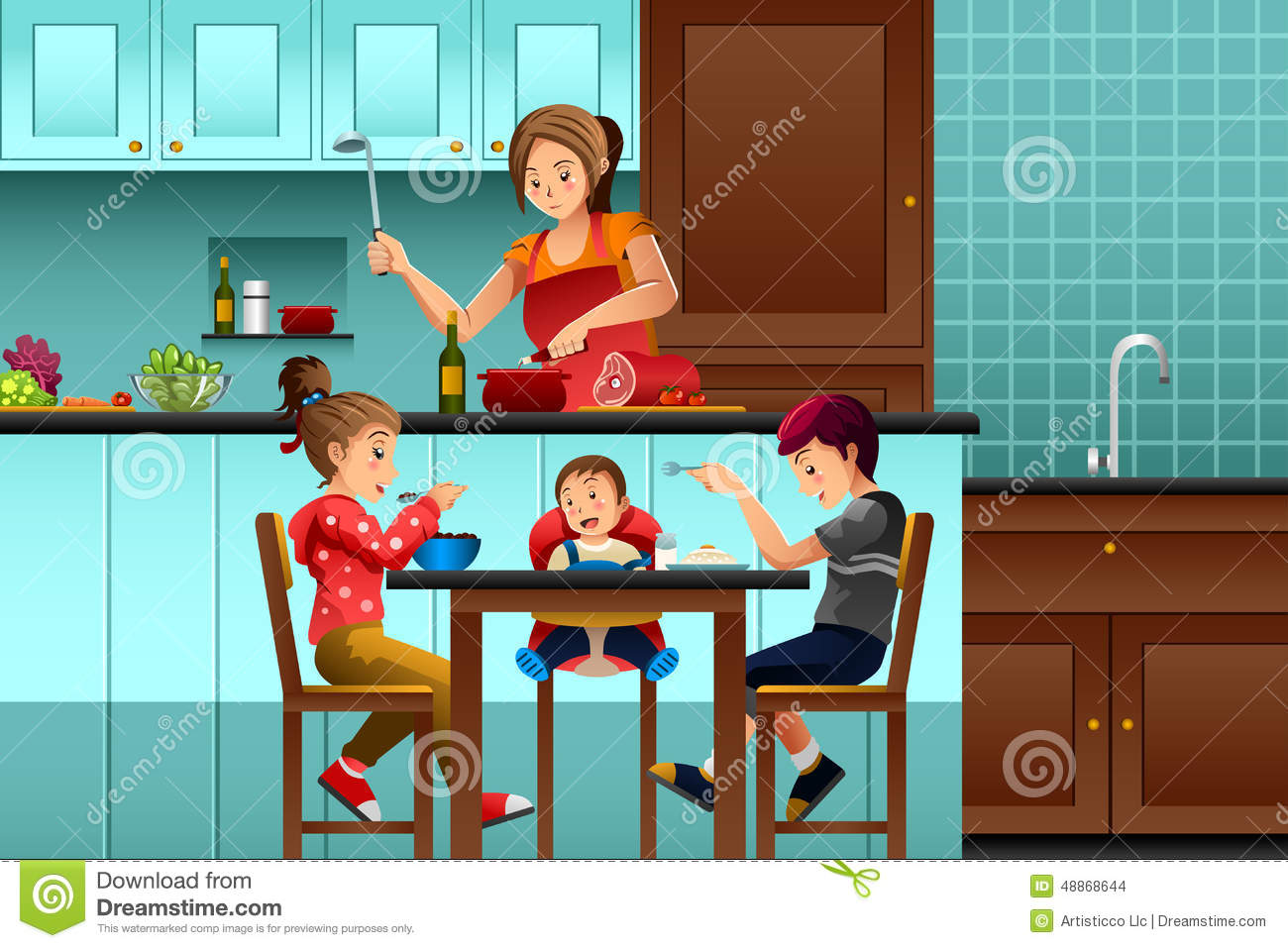 Busy Mother In The Kitchen With Her Kids Stock Vector ...