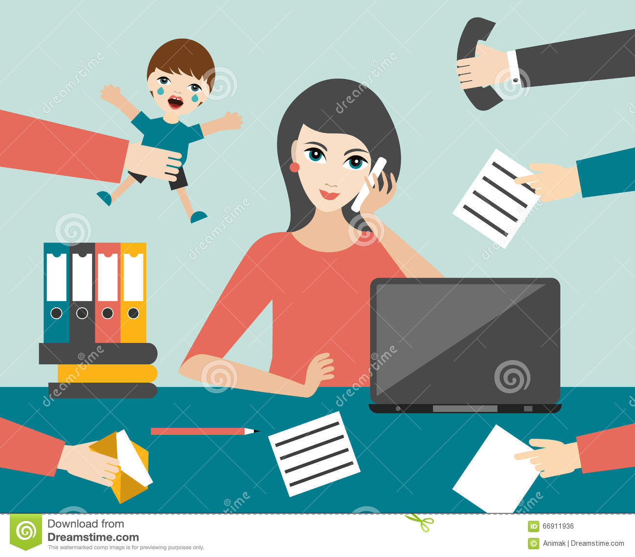 home office multitasking. Busy Multitasking Woman Clerk In Office. Flat Vector. Stock Illustration - Of Calling, Manager: 66911936 Home Office F