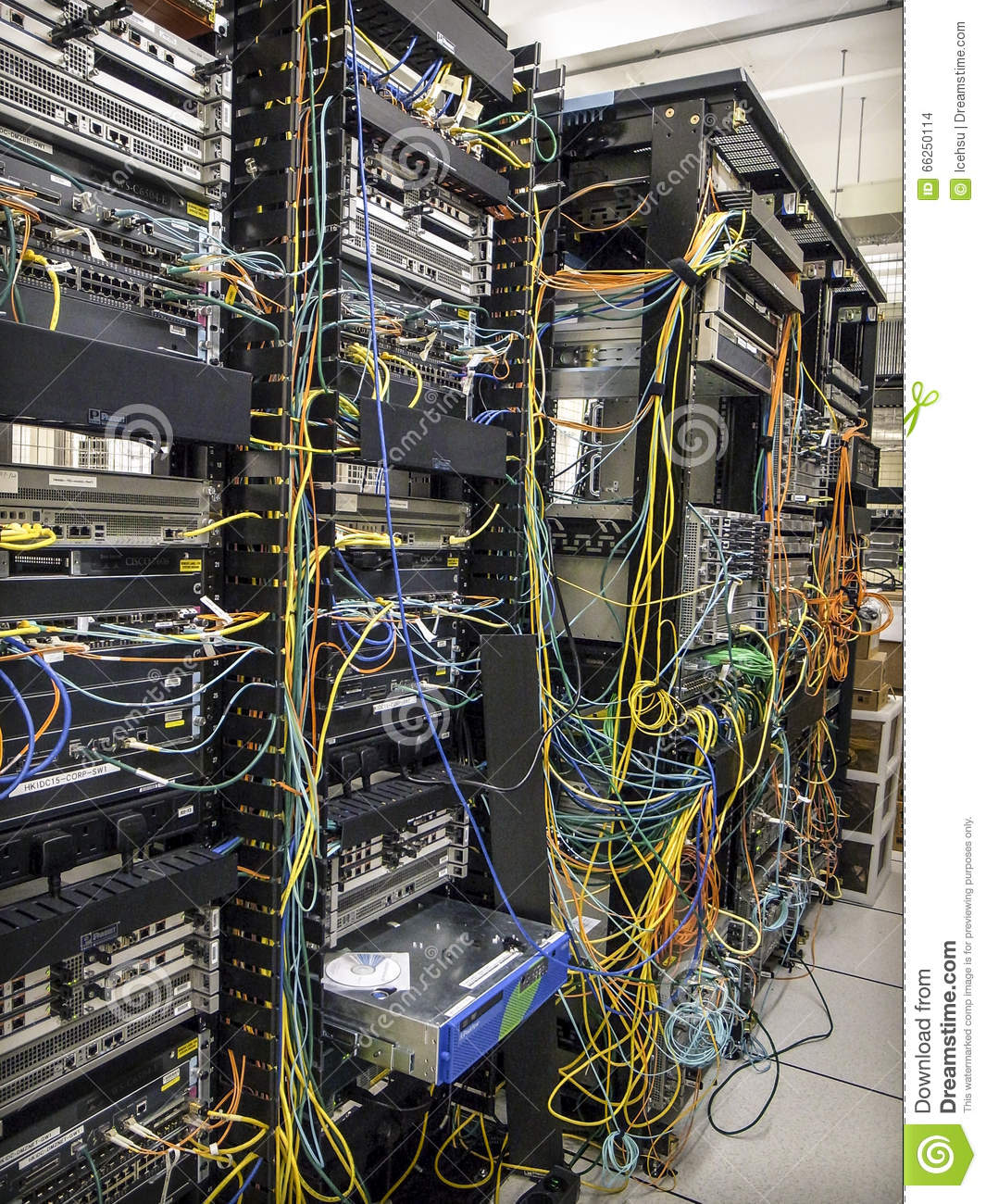Busy Network Racks Stock Photo - Image: 66250114