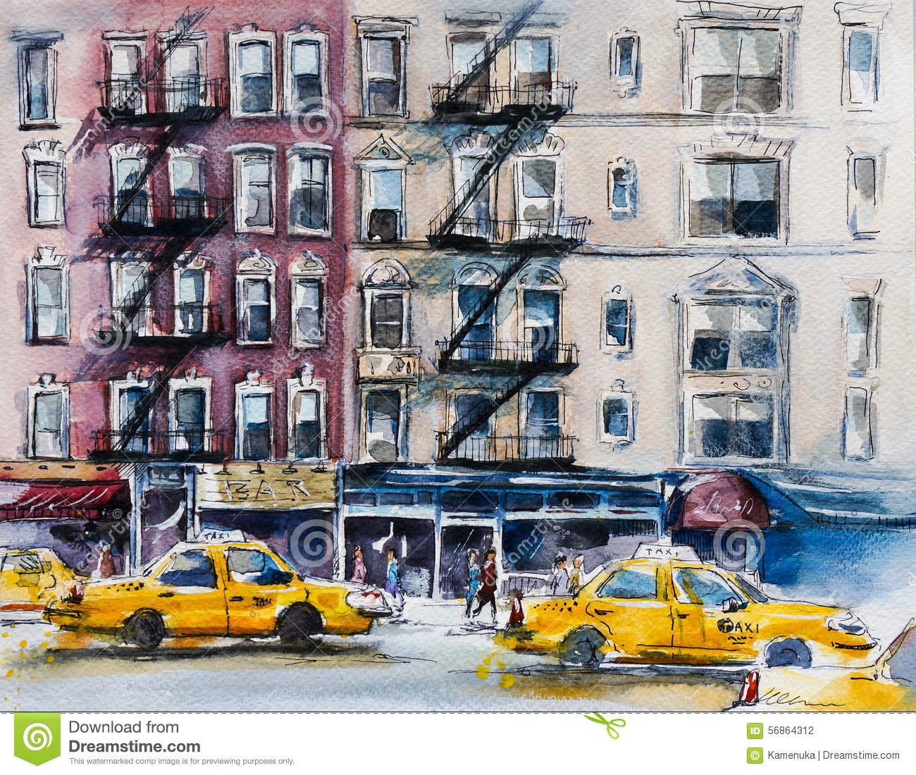 Watercolor New York: Busy New York Street. Watercolor Sketch. Stock