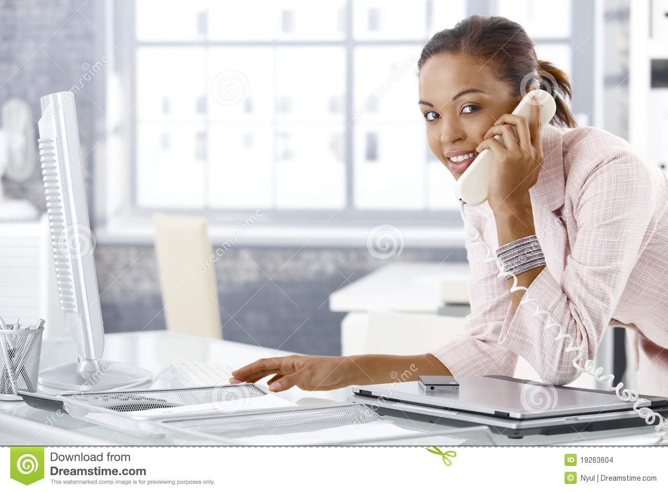 image busy office girl phone